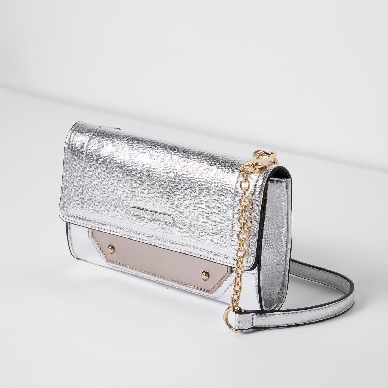 River Island Silver Foldover Cross Body Bag in Metallic