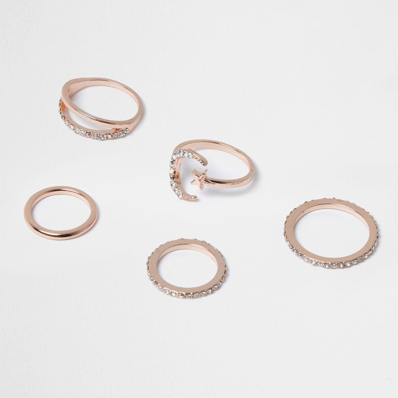 63cc5b49fc27 Lyst - River Island Rose Gold Tone Moon Ring Pack in Metallic