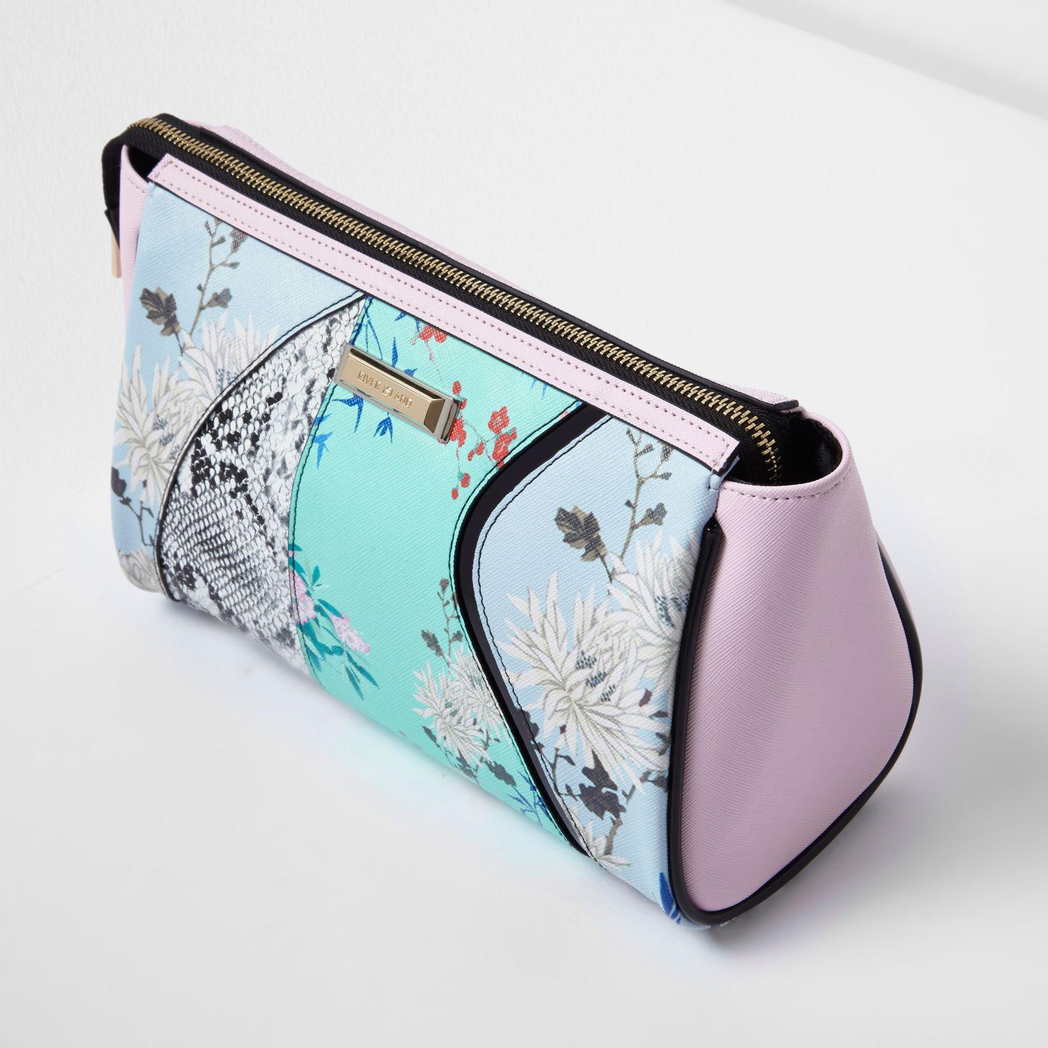 River Island Blue Floral And Snake Print Make-up Wash Bag In Blue | Lyst