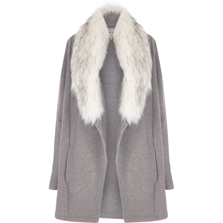 River Island Grey Jacket White Fur
