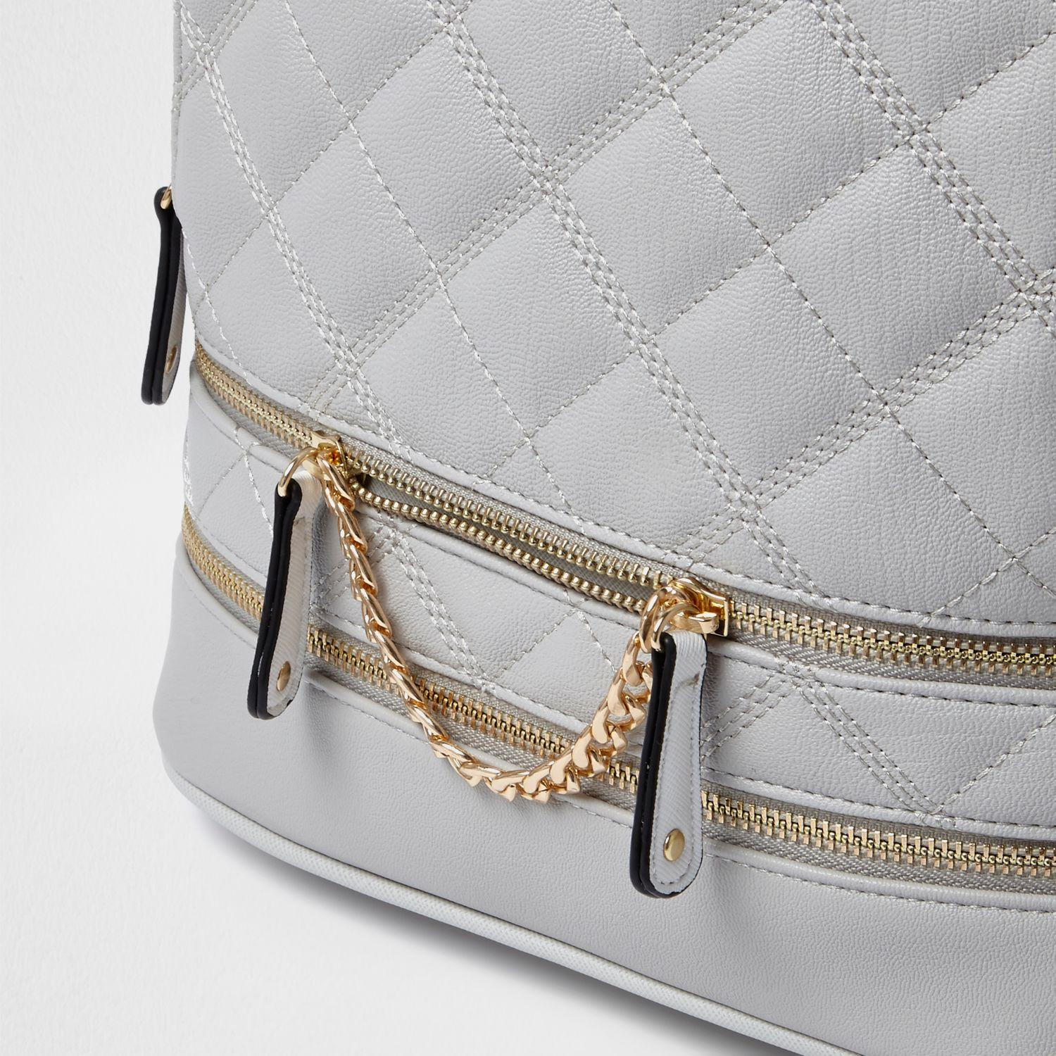River Island Grey Quilted Zip Backpack in Grey