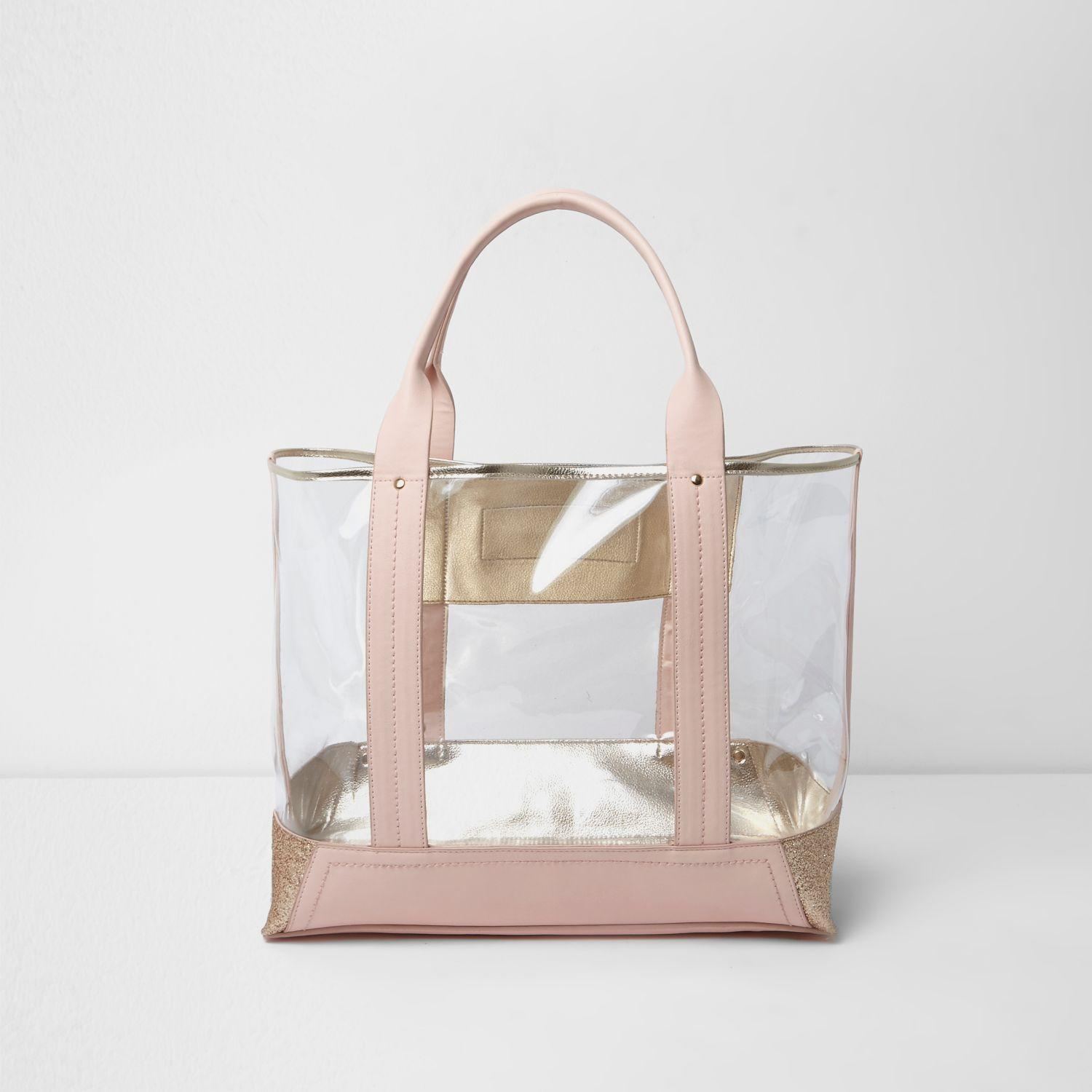 River Island Pink Perspex Glitter Panel Beach Tote Bag