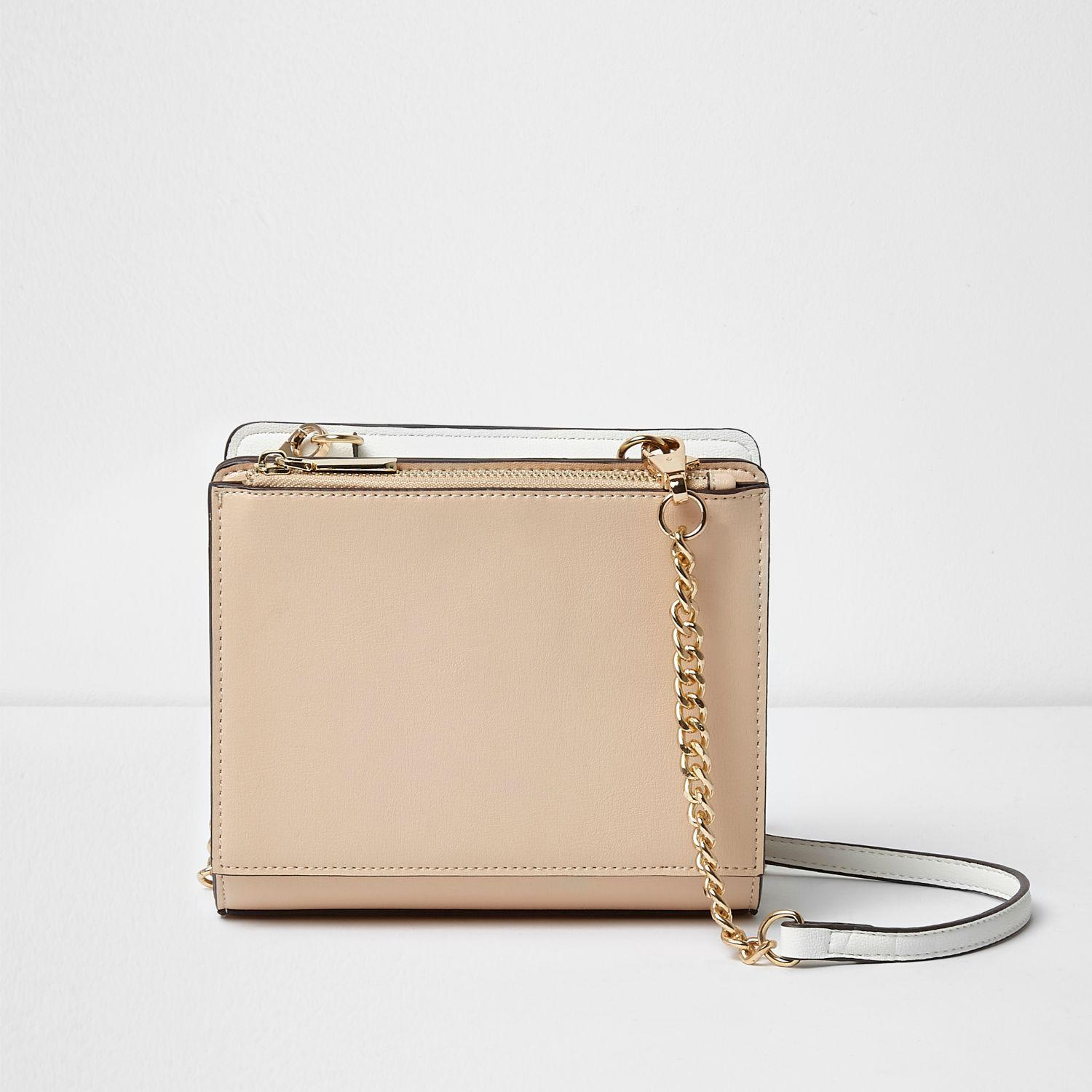 River Island Beige Front Pocket Chain Cross Body Bag in Cream (Natural)