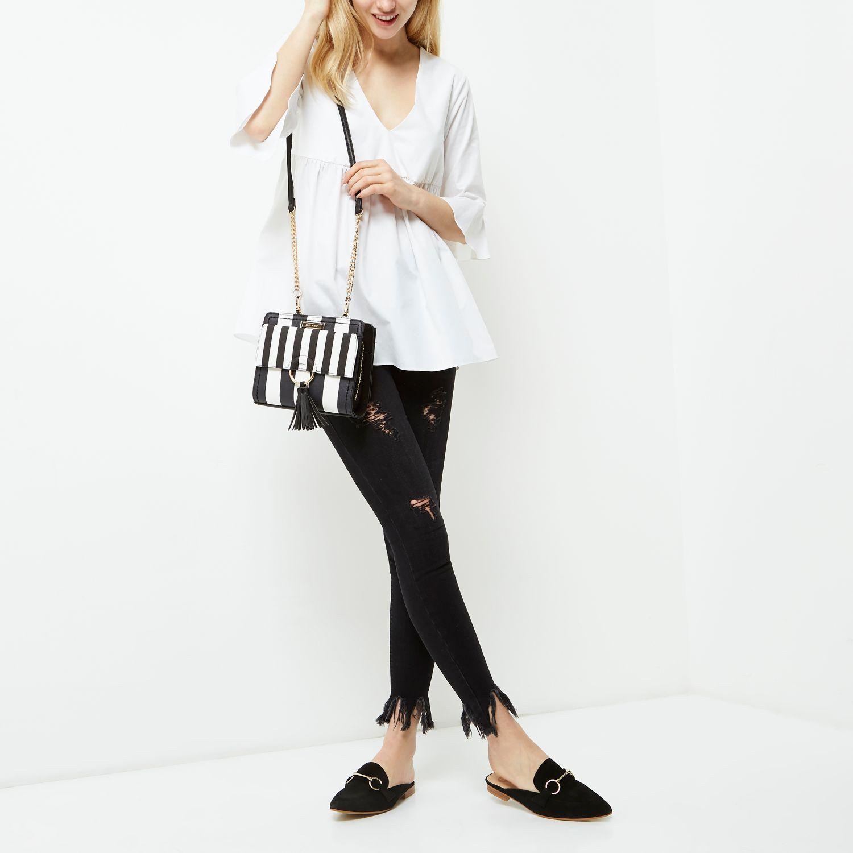 River Island Black And White Stripe Cross Body Chain Bag