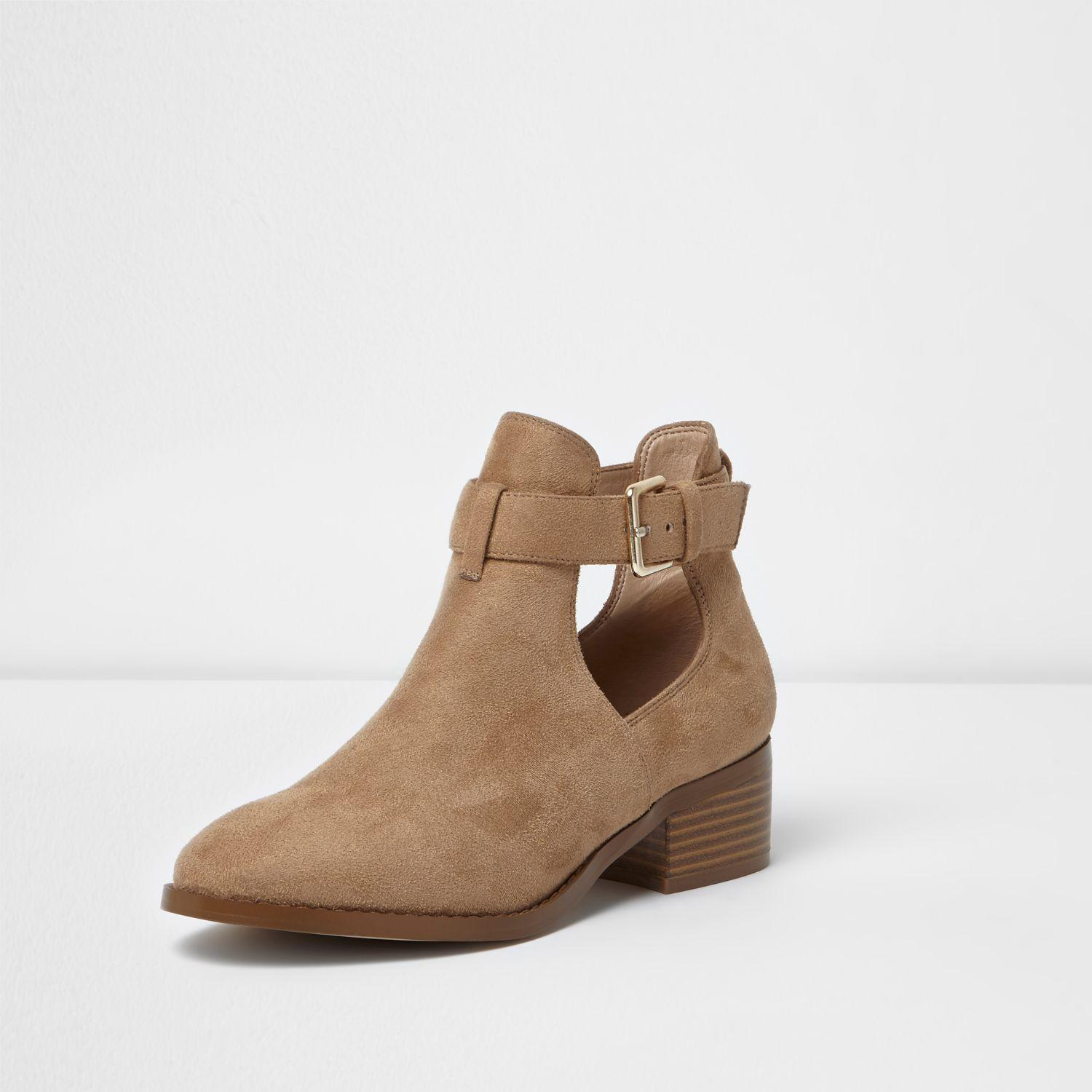 fadbcf36fc7 Women's Natural Beige Cut Out Ankle Boots
