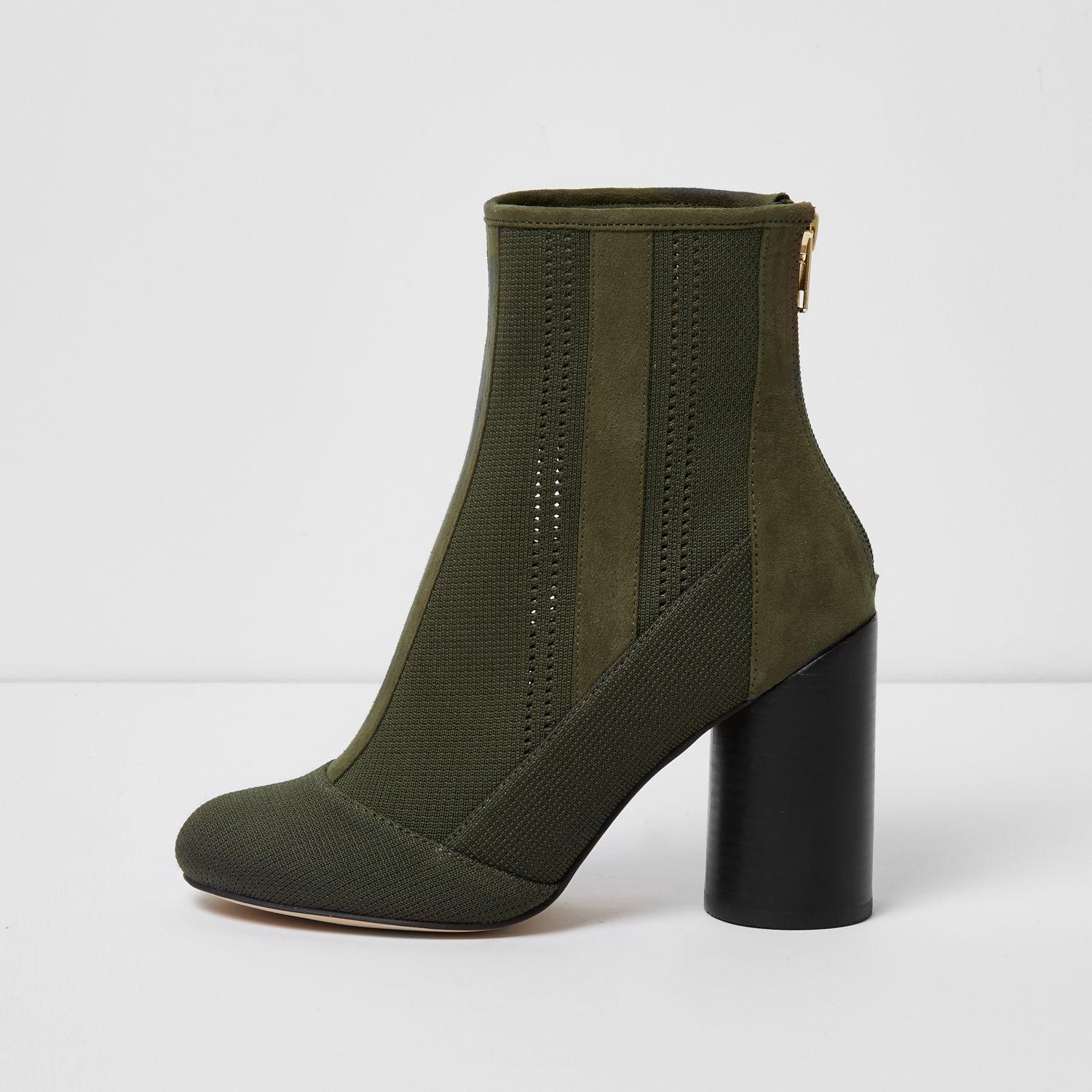 river island khaki green knitted ankle boots in green lyst