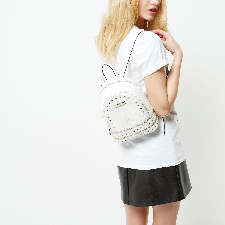 ac7c223a511 River Island White Studded Mini Backpack