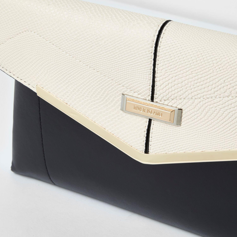 Cream envelope clutch bag : Lyst river island black and cream foldover envelope