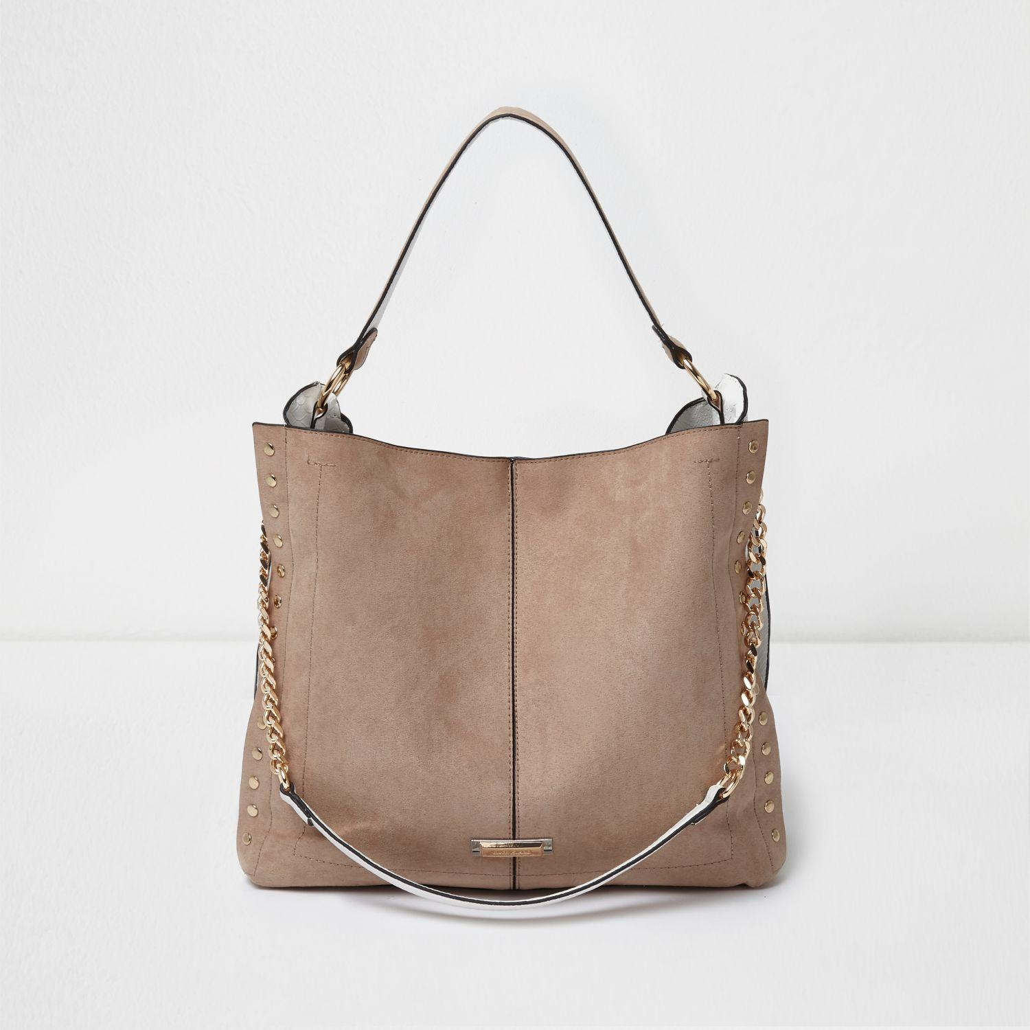 dd2d918c7ae148 River Island Stud Slouch Chain Shoulder Bag in Natural - Lyst