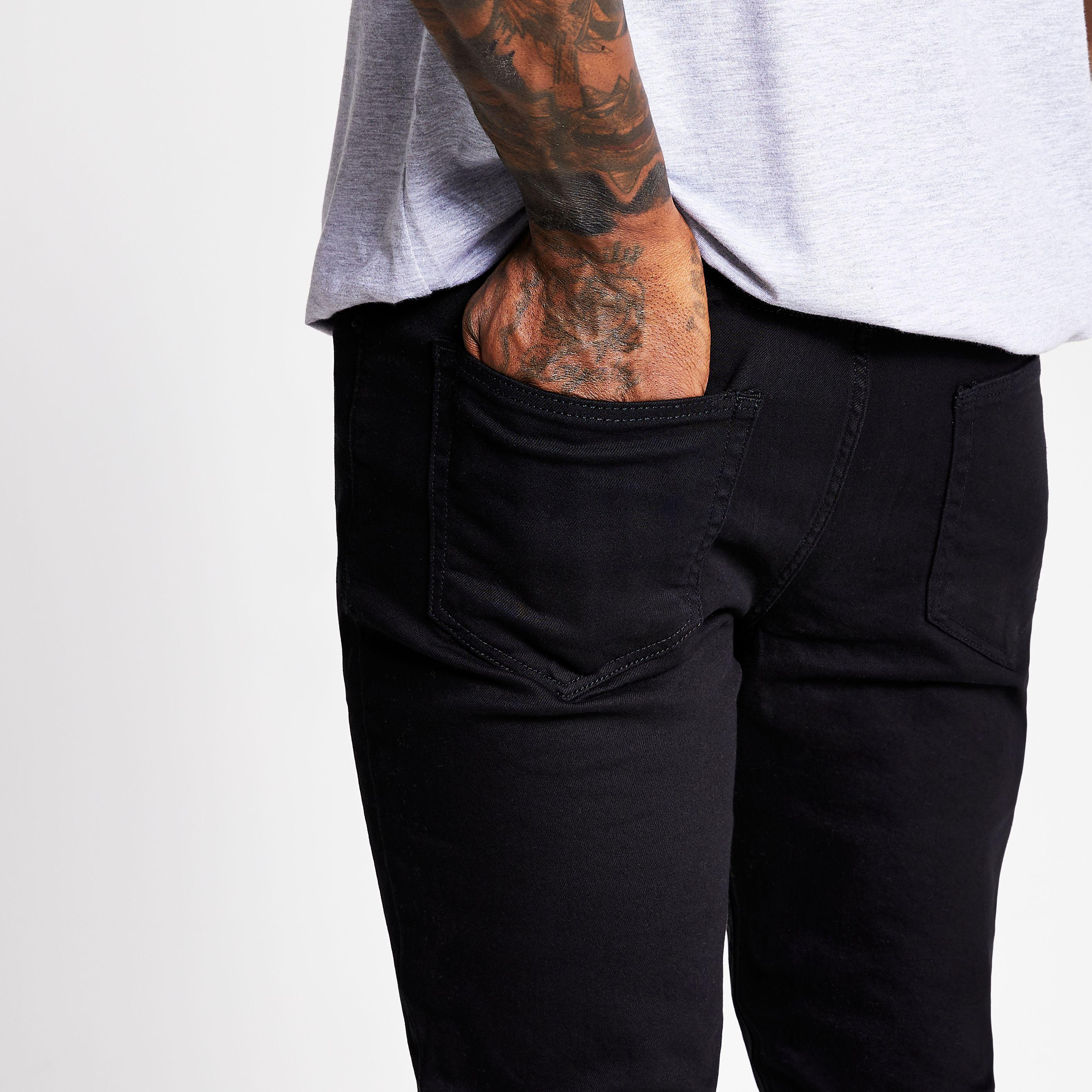 River Island Denim Black Sid Skinny Jeans for Men