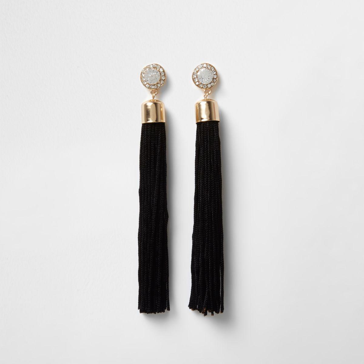 River island Gold Tone Diamante Black Tassel Drop Earrings in ...