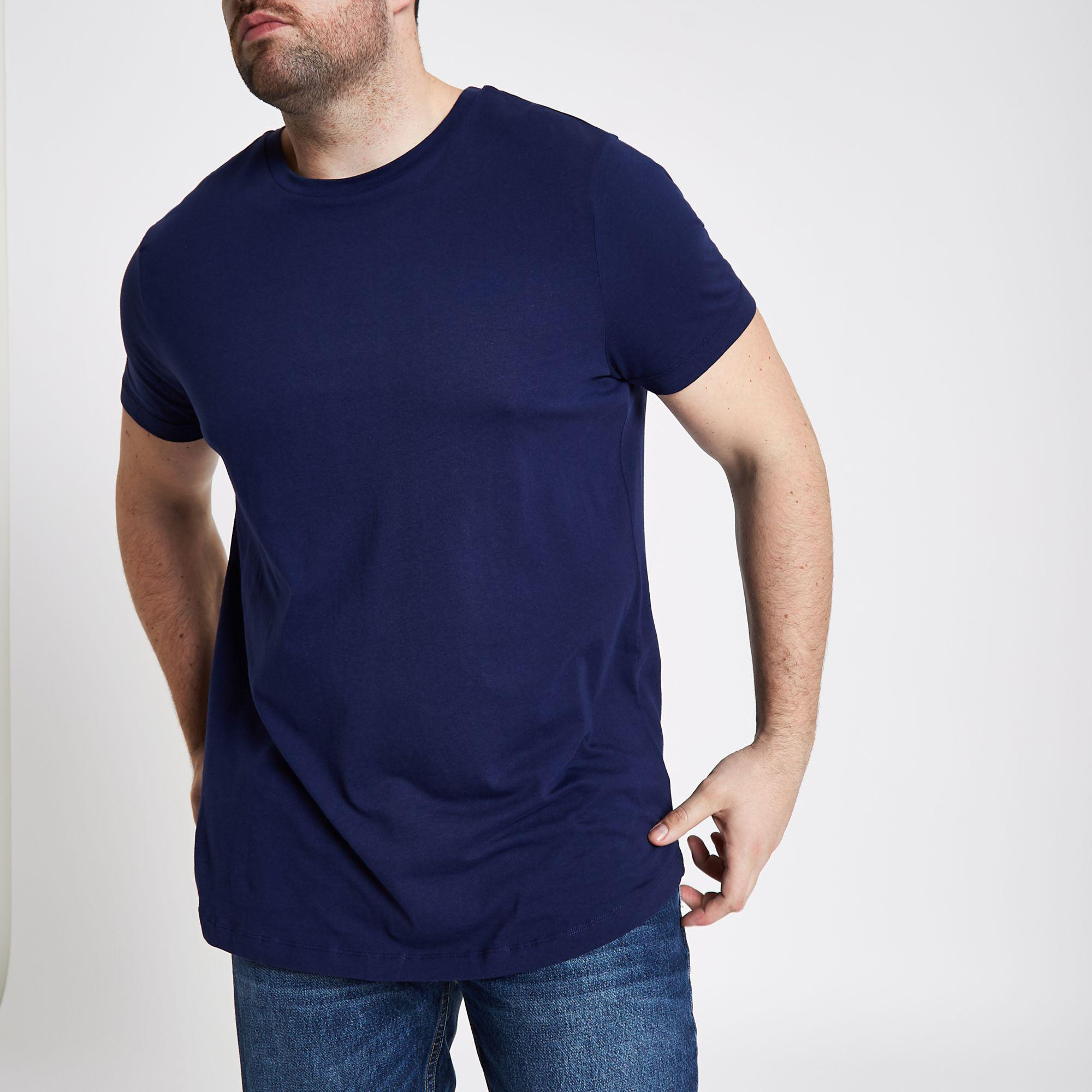 4120ce05 River Island Big And Tall Curved Hem T-shirt in Blue for Men - Lyst