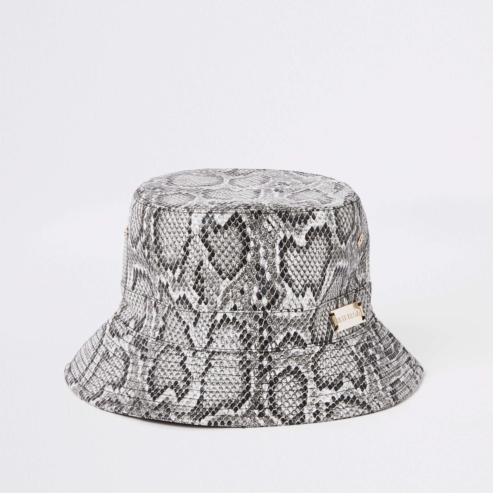 778c12a36 Women's Gray Snake Print Bucket Hat