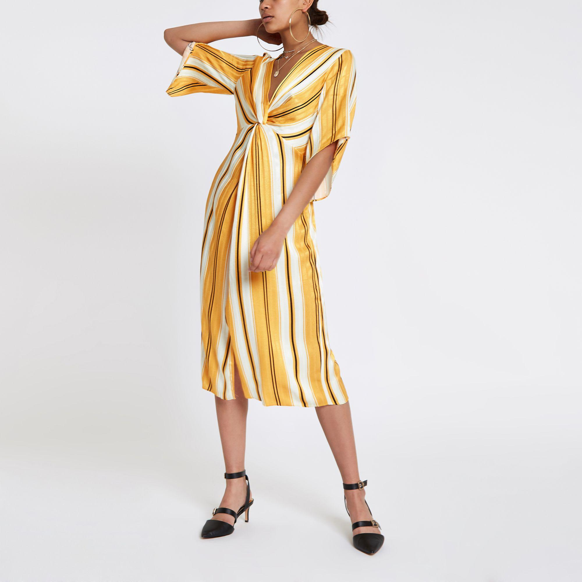 65165e6608af River Island Yellow Stripe Twist Front Maxi Dress in Yellow - Lyst