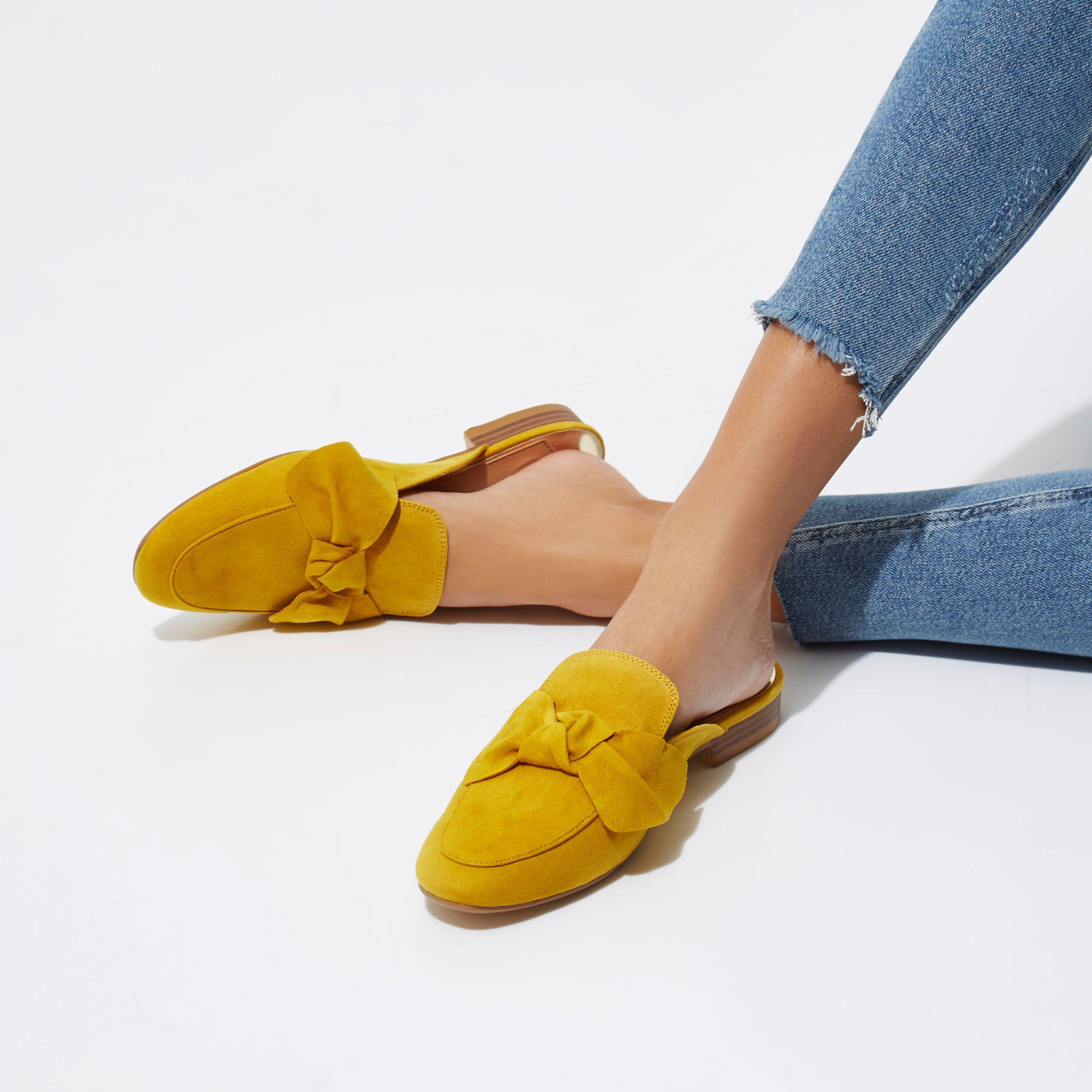 9f78e4ef8 Lyst - River Island Yellow Bow Front Backless Loafer in Yellow