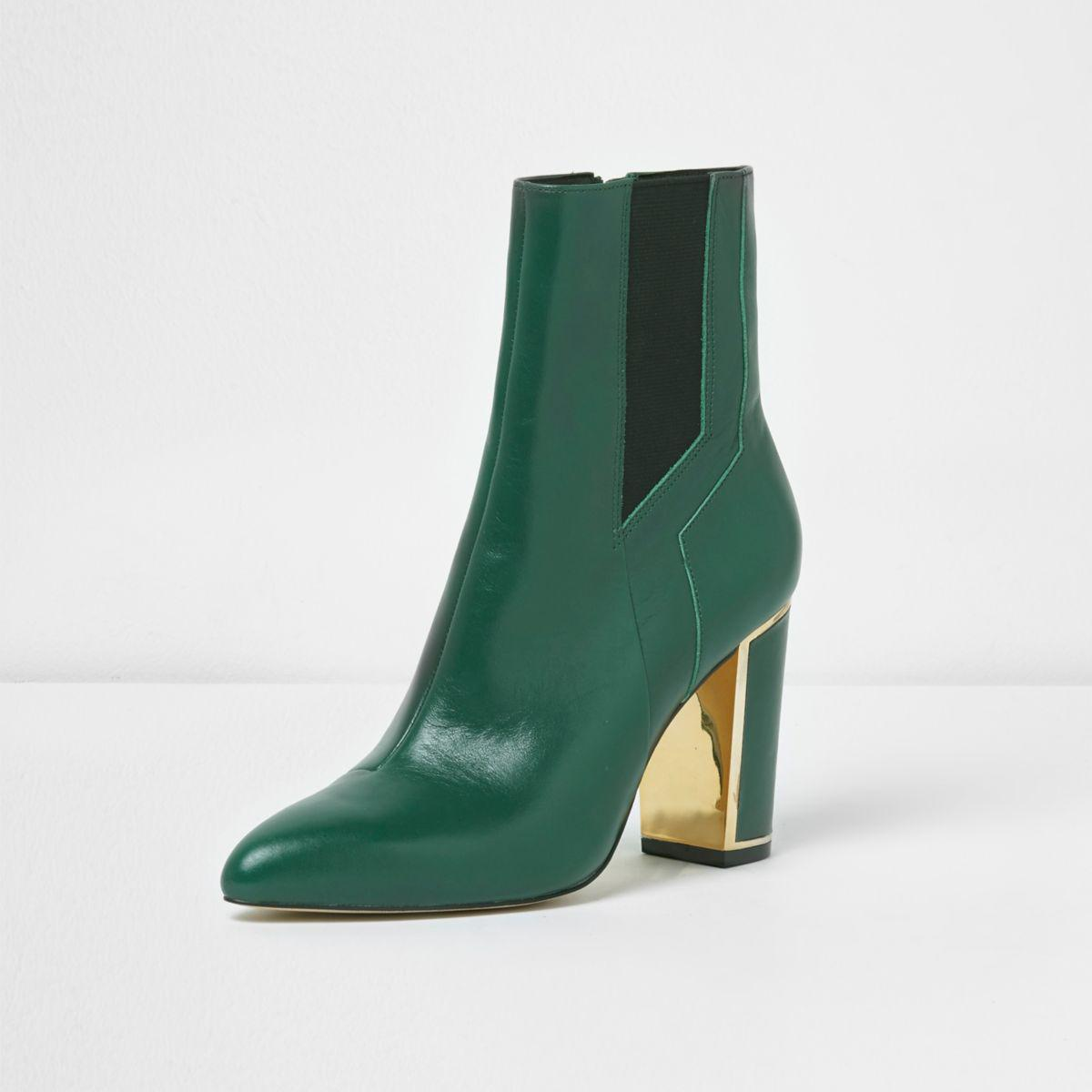 Lyst River Island Green Pointed Block Heel Boots In Green