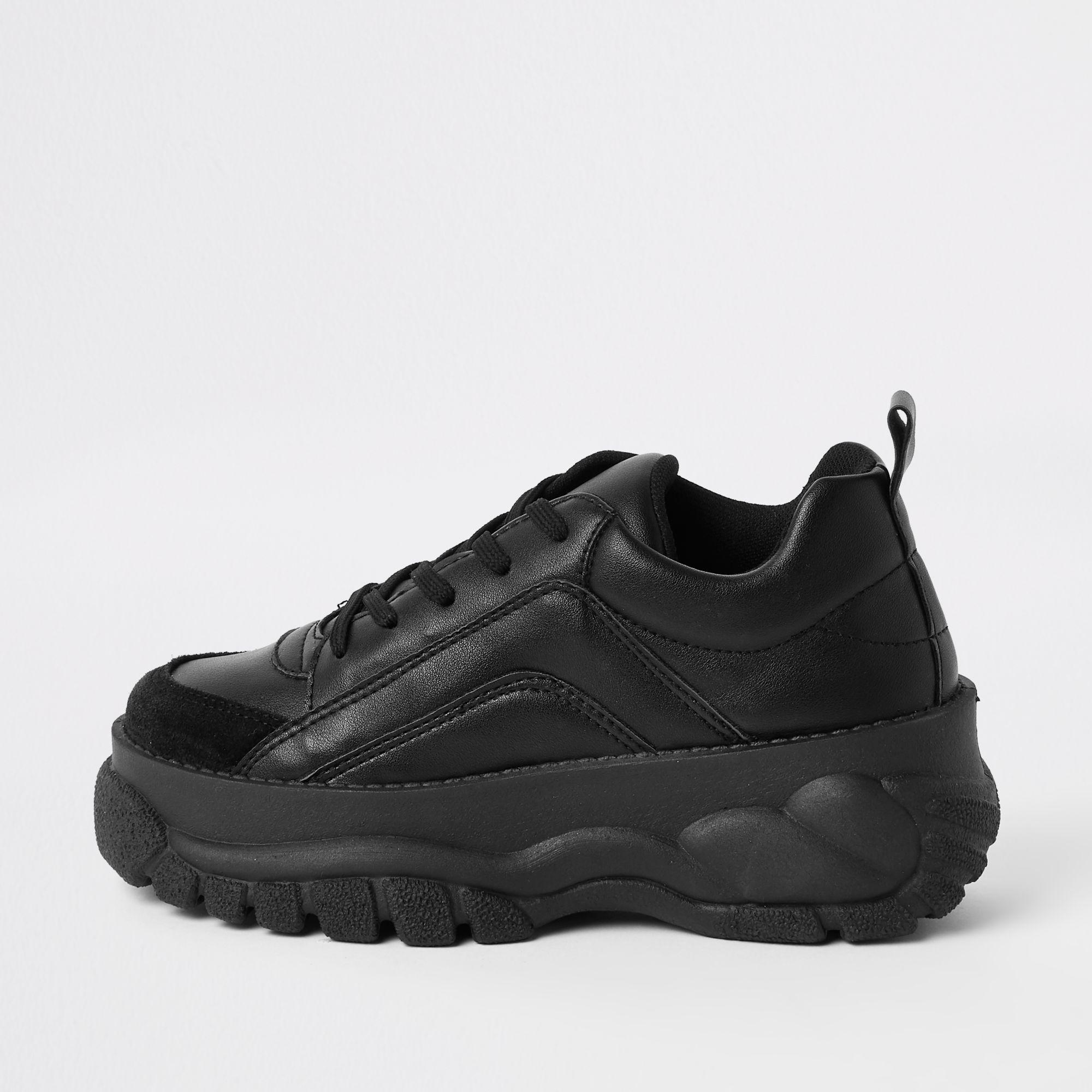 Faux Leather Chunky Lace Up Trainers