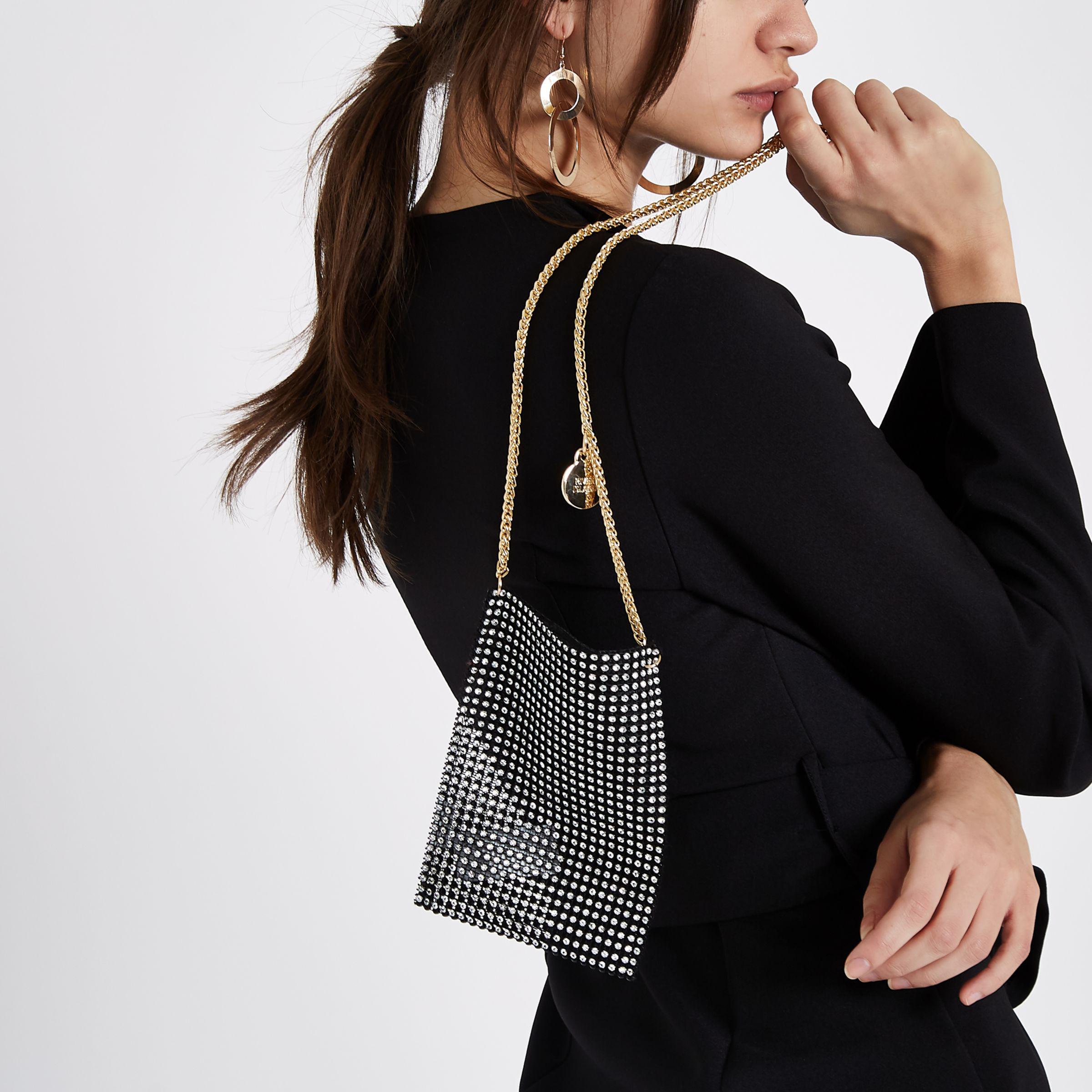 River Island Synthetic Black Diamante Cross Body Chain Pouch Bag