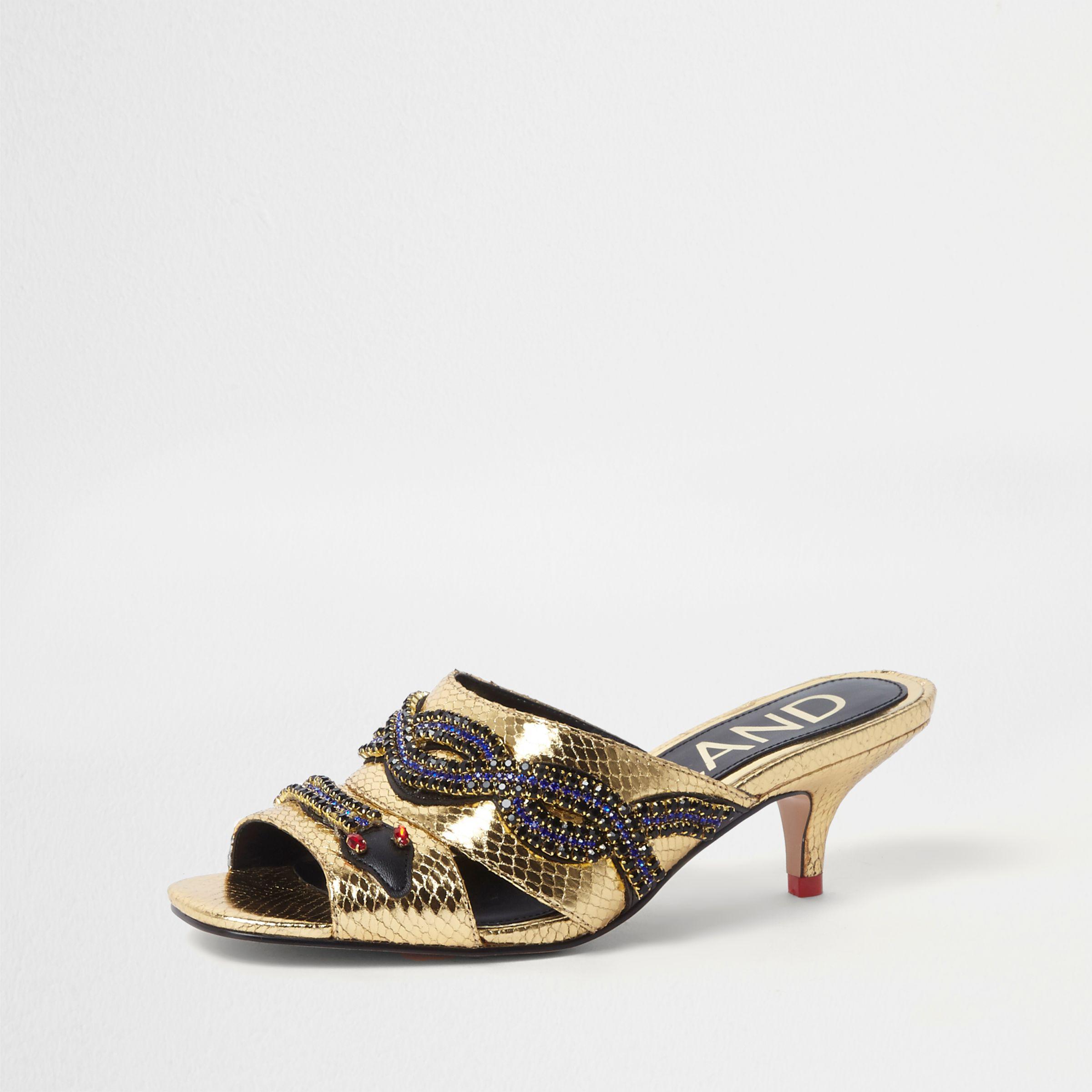 1bbf260ebbd Lyst - River Island Gold Snake Embellished Kitten Heel Mules in Metallic