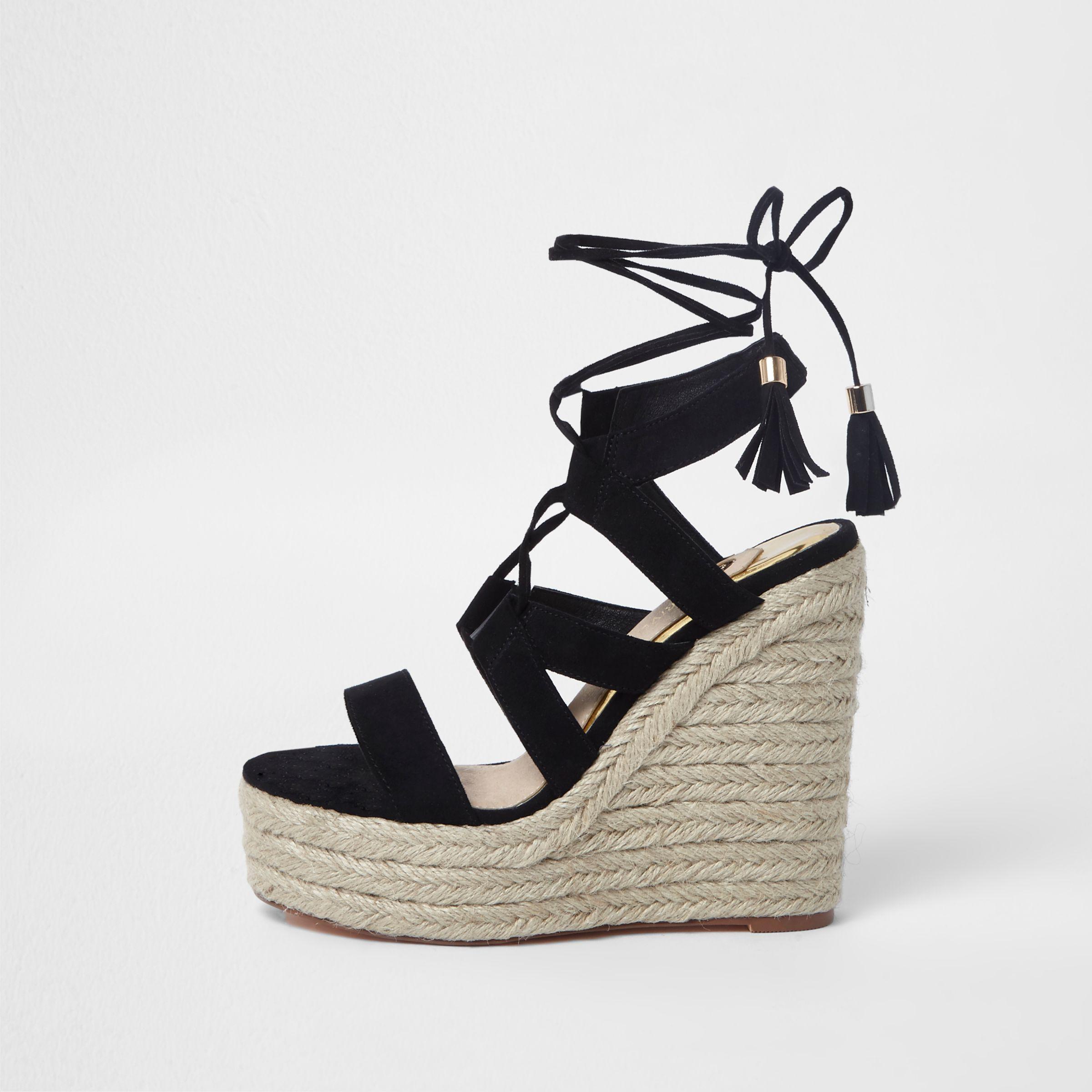 cc4579feb3e Lyst - River Island Black Lace-up Espadrille Wedges Sandals in Black