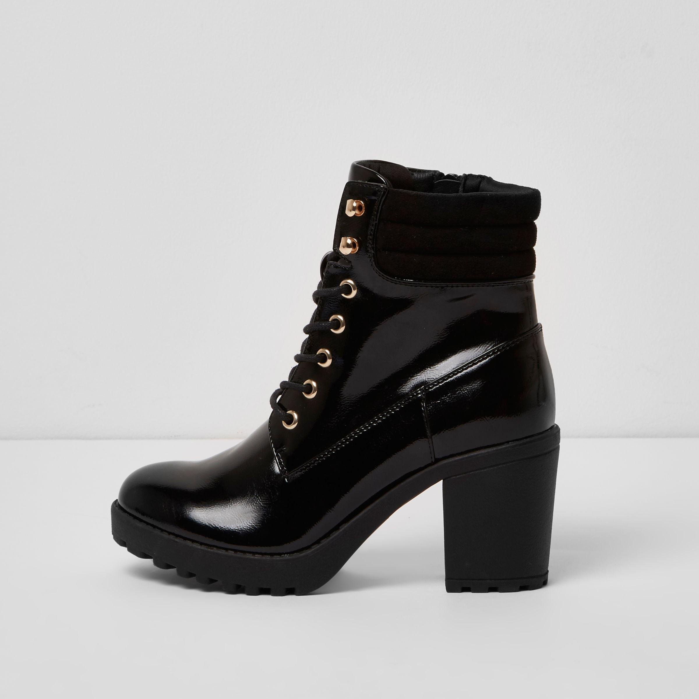 River Island Black Patent Lace Up