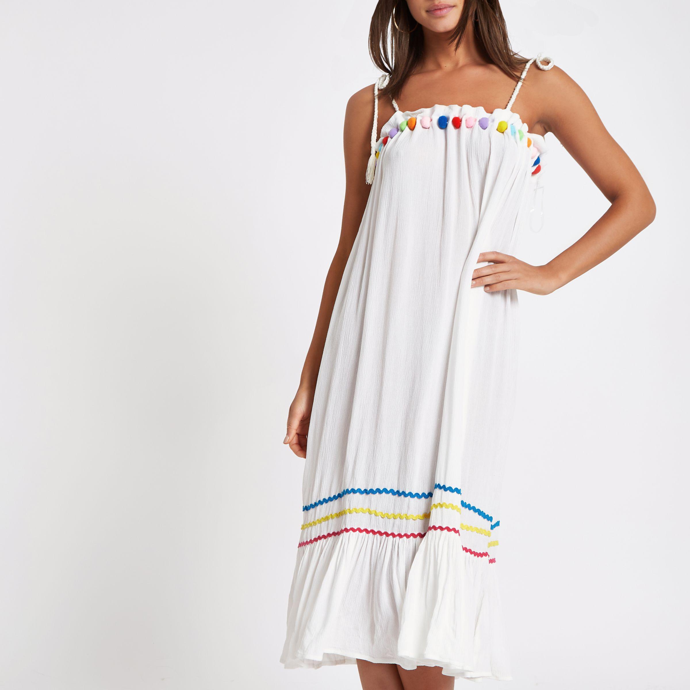 682ae649b2 River Island White Pom Pom Trim Midi Beach Dress in White - Lyst