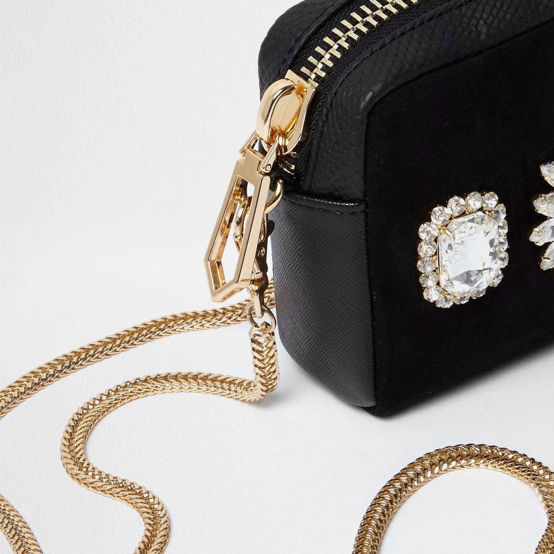 River Island Black Diamante Mini Cross Body Chain Bag