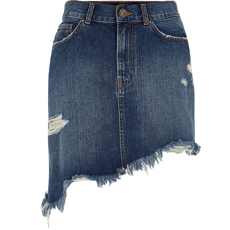 river island blue distressed asymmetric hem denim skirt in
