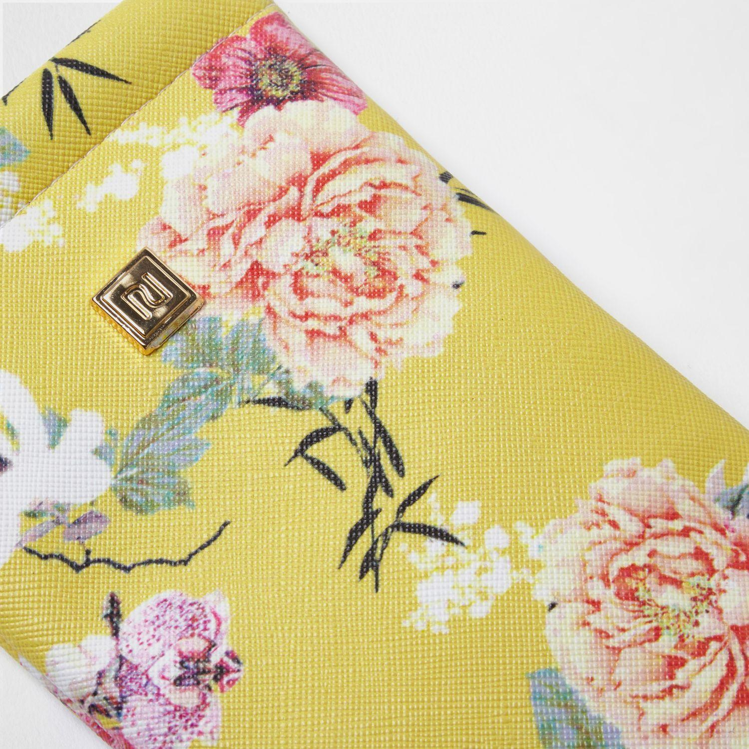 River Island Yellow Floral Print Sunglasses Case
