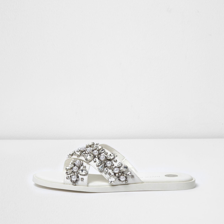Womens White diamante embellished sliders River Island SROiMMX