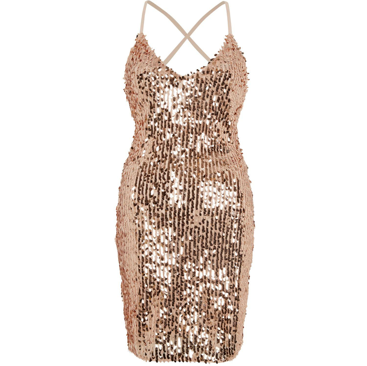Lyst River Island Gold Sequin Strappy Back Bodycon Dress
