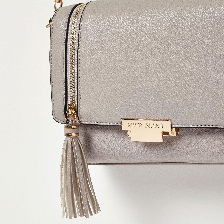 River Island Leather Grey Studded Cross Body Bag in Grey