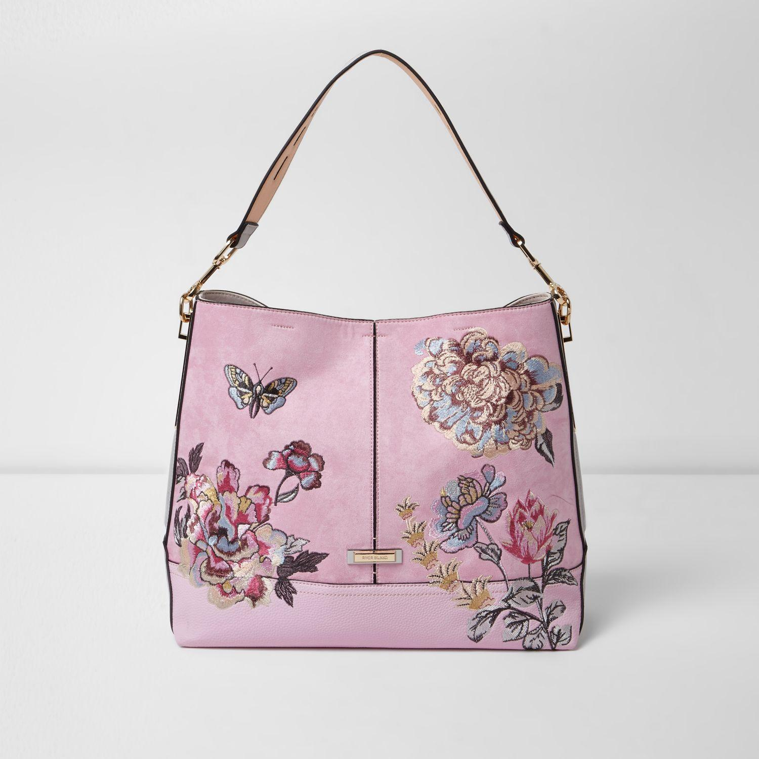 River island floral embroidered slouch underarm shoulder bag in pink gallery mightylinksfo
