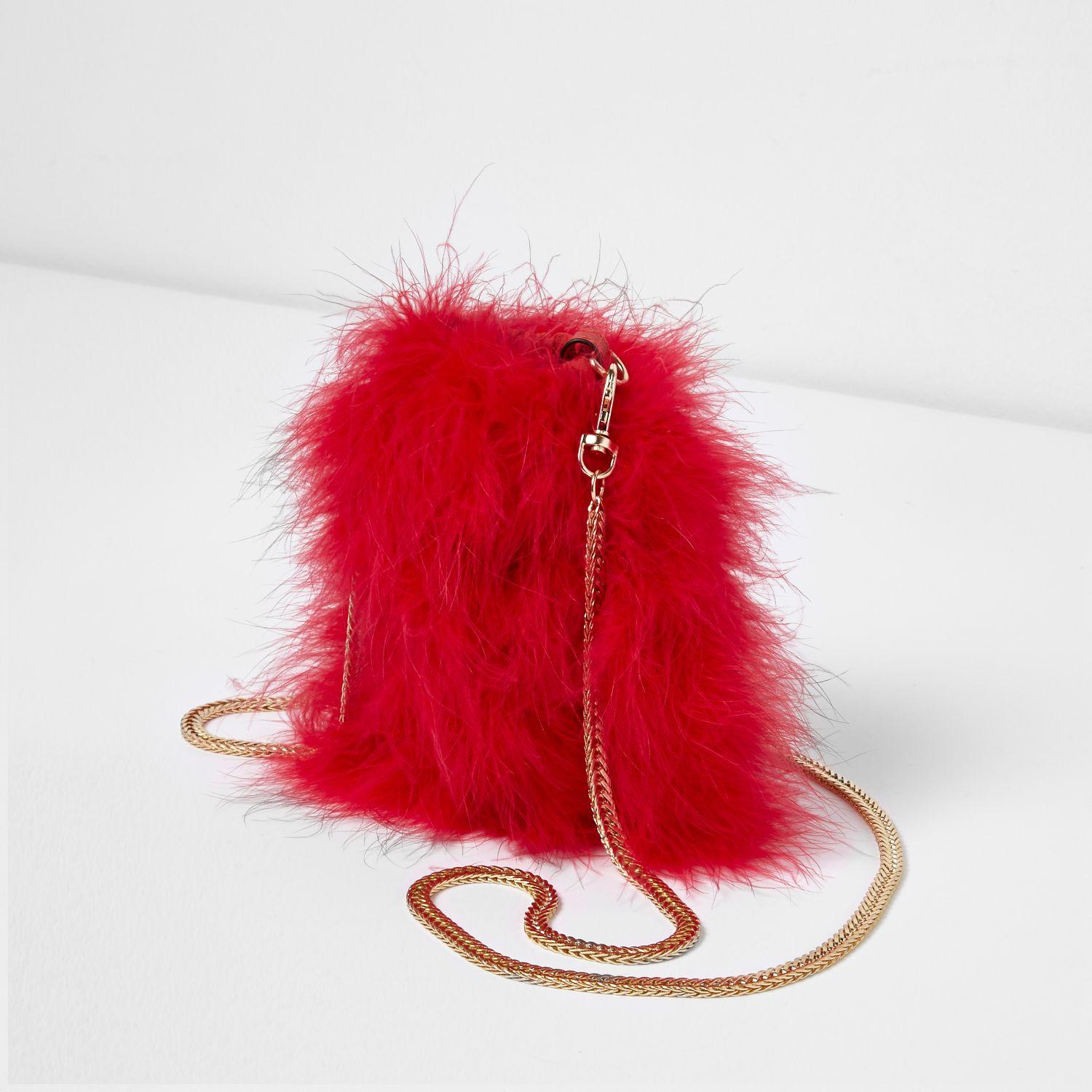 River Island Synthetic Red Feather Mini Pouch Cross Body Bag