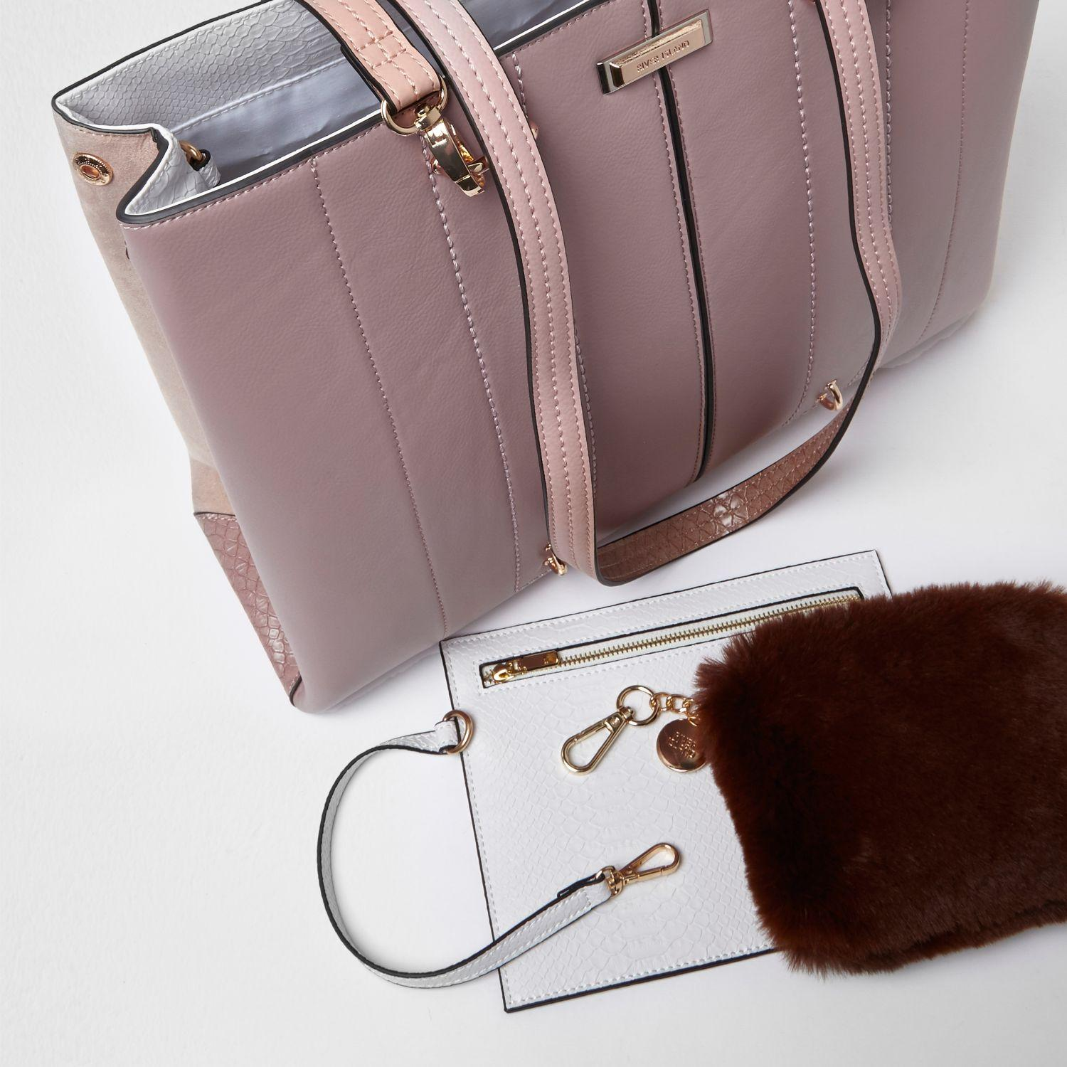 5a8164b1fa Lyst - River Island Pink Long Handle Fur Pouchette Tote Bag in Pink
