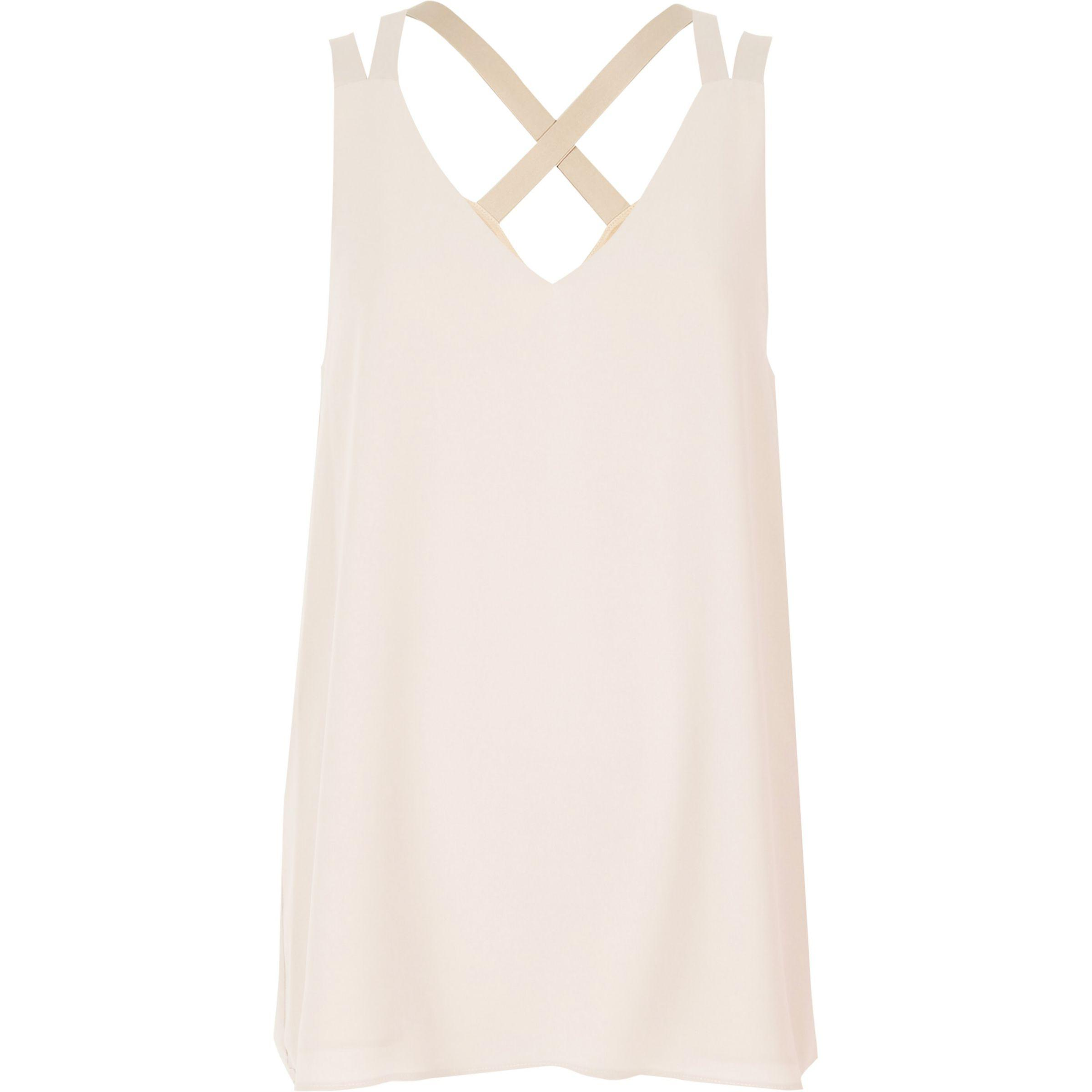 57a768afb37 Women's Natural Light Beige Cross Back Double Strap Cami Top