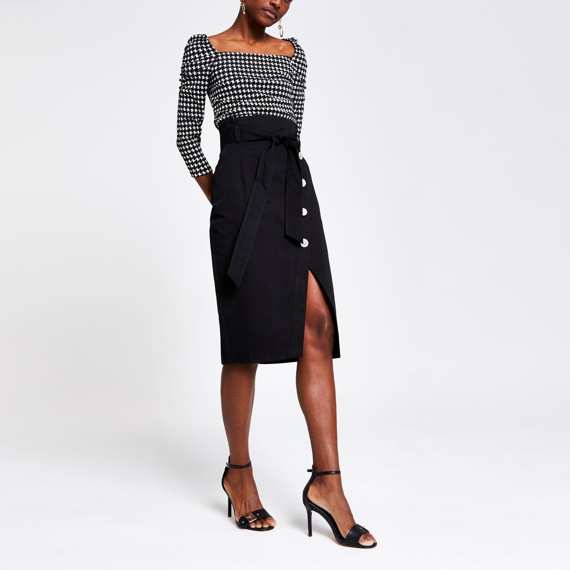 c7a168d62e River Island Tie Waist Pencil Skirt in Black - Lyst