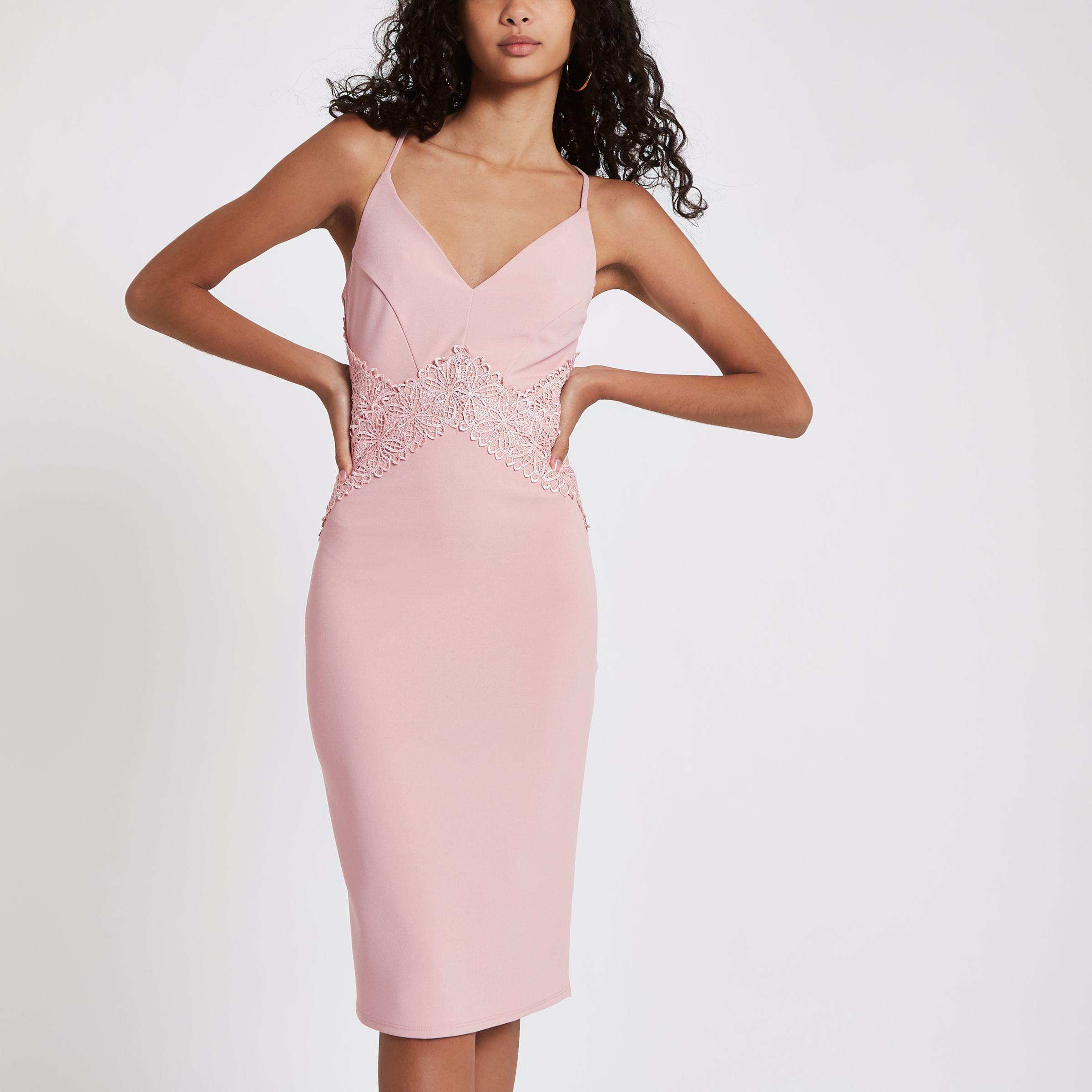 2ffdc2f392928 River Island Light Pink Lace Insert Bodycon Midi Dress in Pink - Lyst