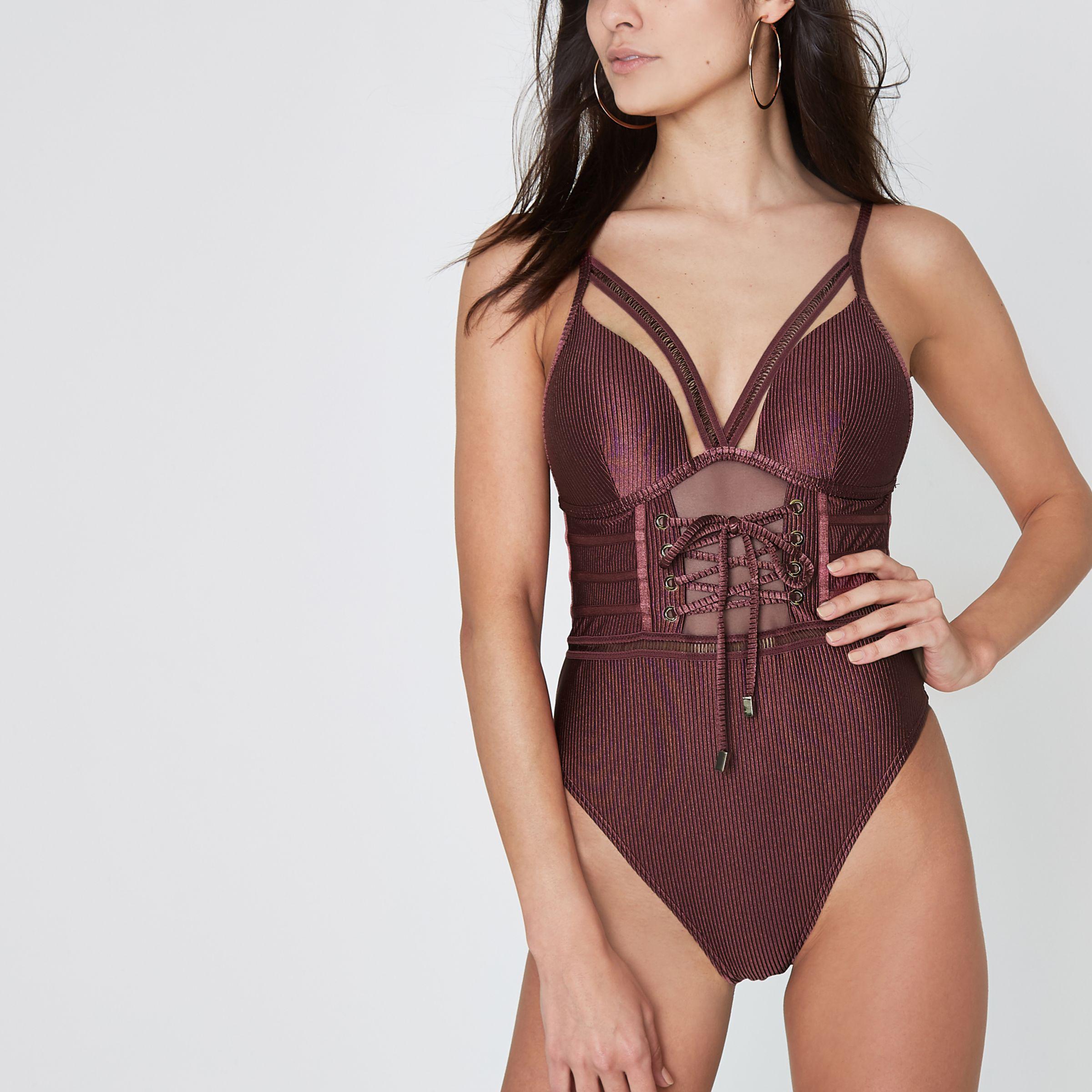 6df776cfac Lyst - River Island Dark Purple Plunge Corset Swimsuit in Purple