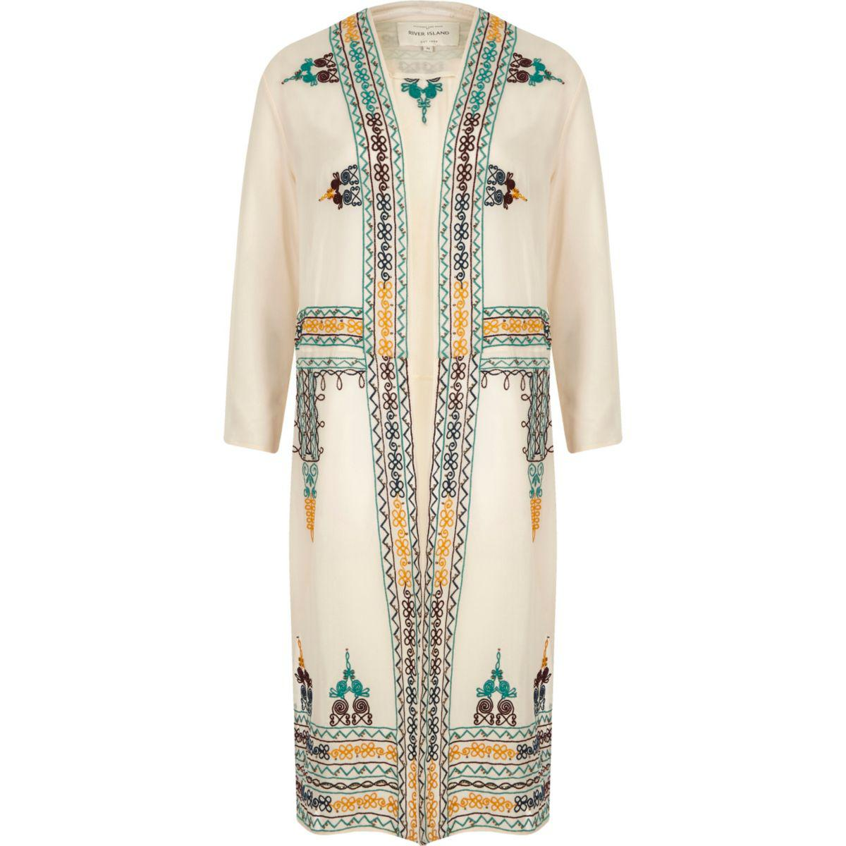 Lyst river island cream sheer embroidered duster jacket