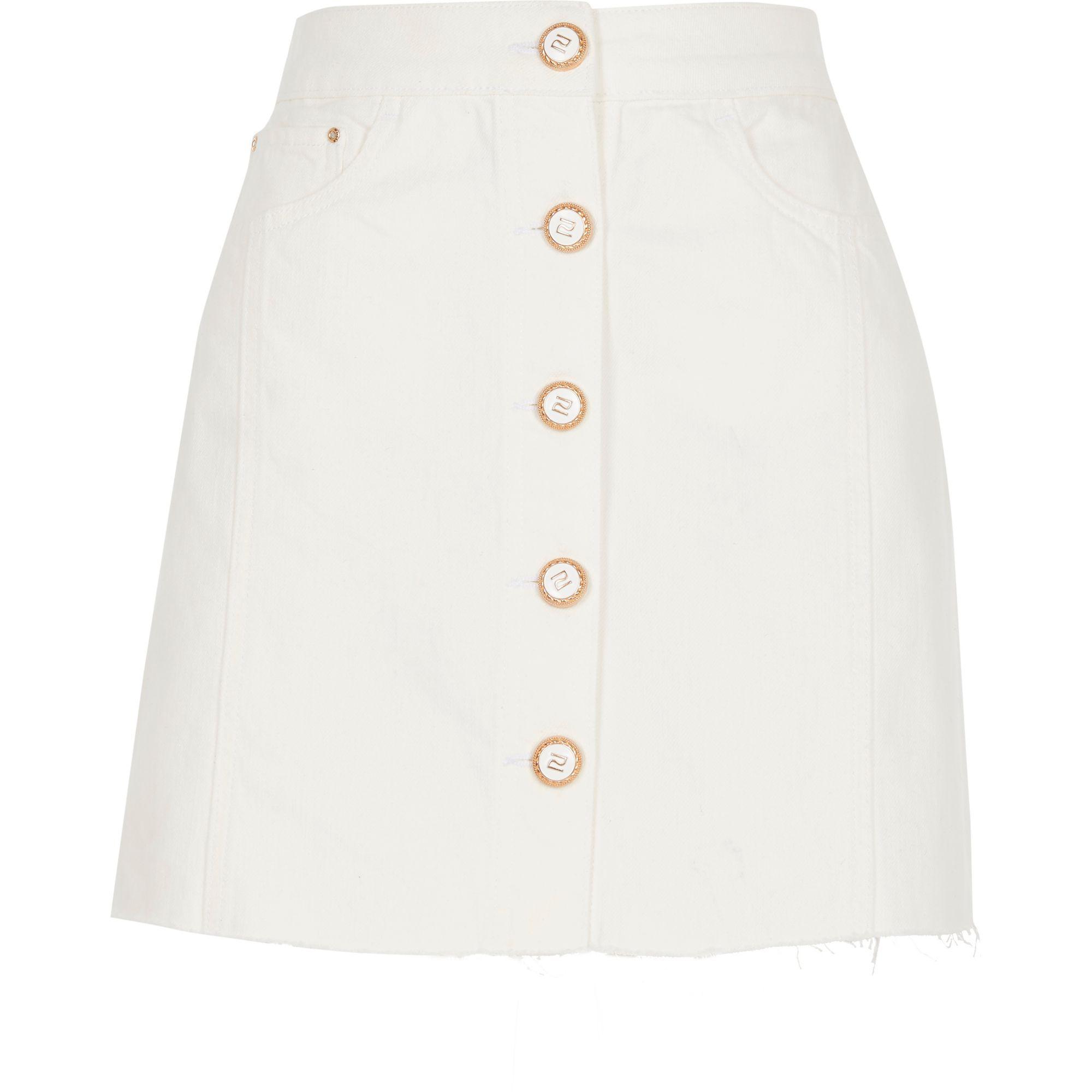 843c72371 River Island Petite White Button Front Denim Mini Skirt in White - Lyst
