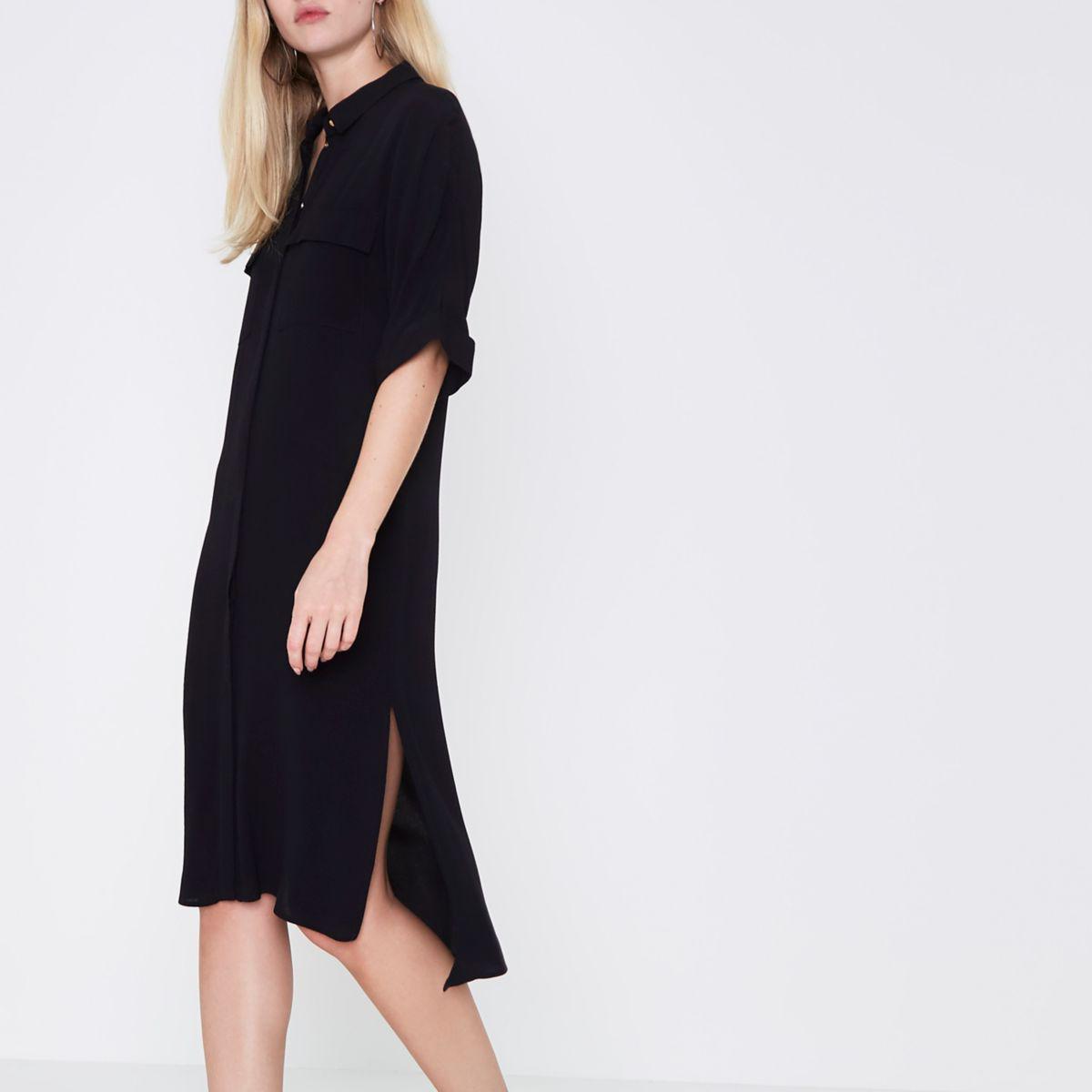 Lyst river island black midi shirt dress in black for Midi shirt dress black