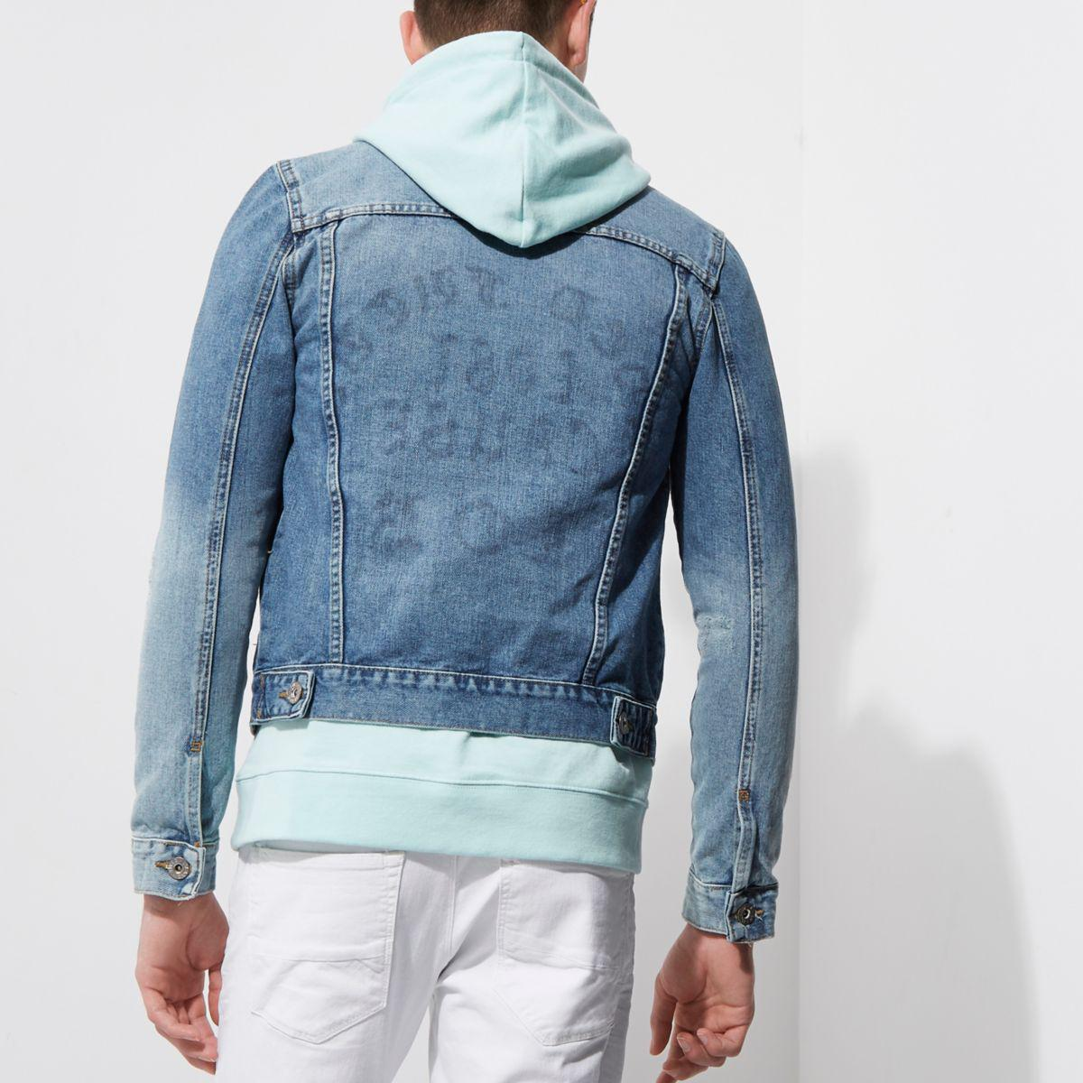 River Island Light Blue 'faded Future' Print Denim Jacket for Men