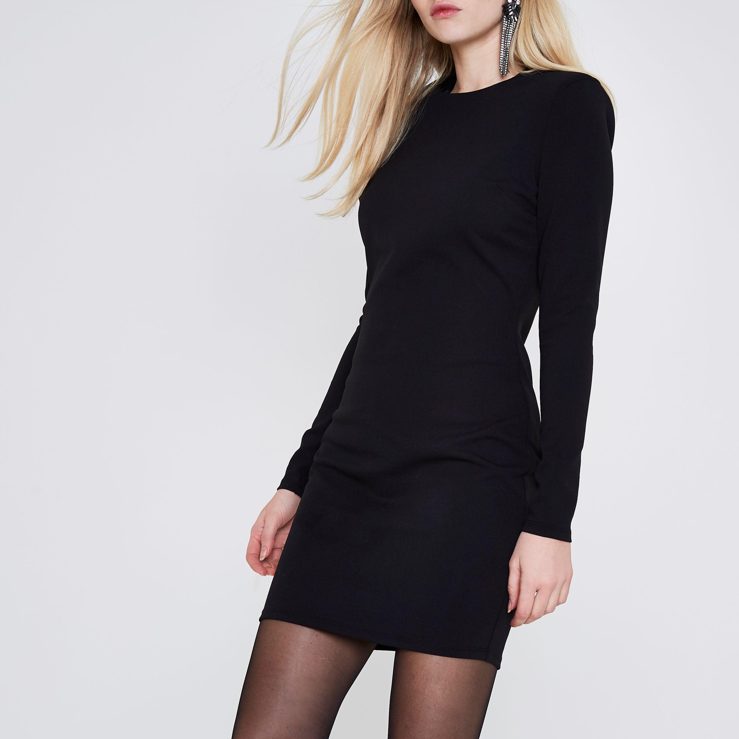 0ce98a8b40e Lyst - River Island Black Shoulder Pad Bodycon Mini Dress in Black