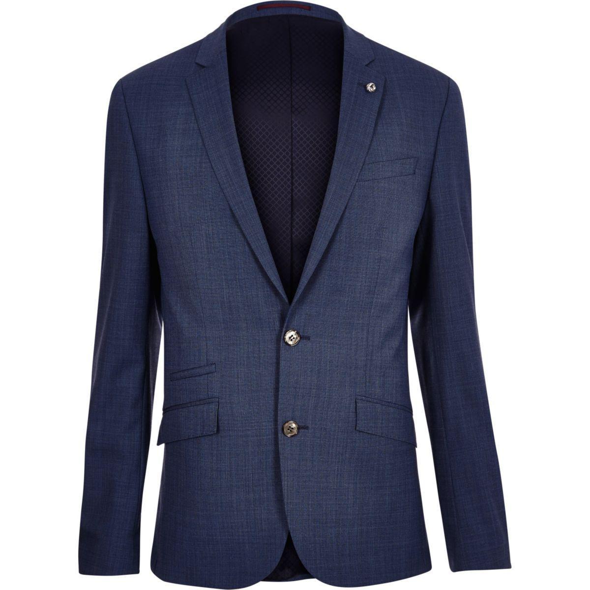 Lyst River Island Blue Slim Suit Jacket In Blue For Men