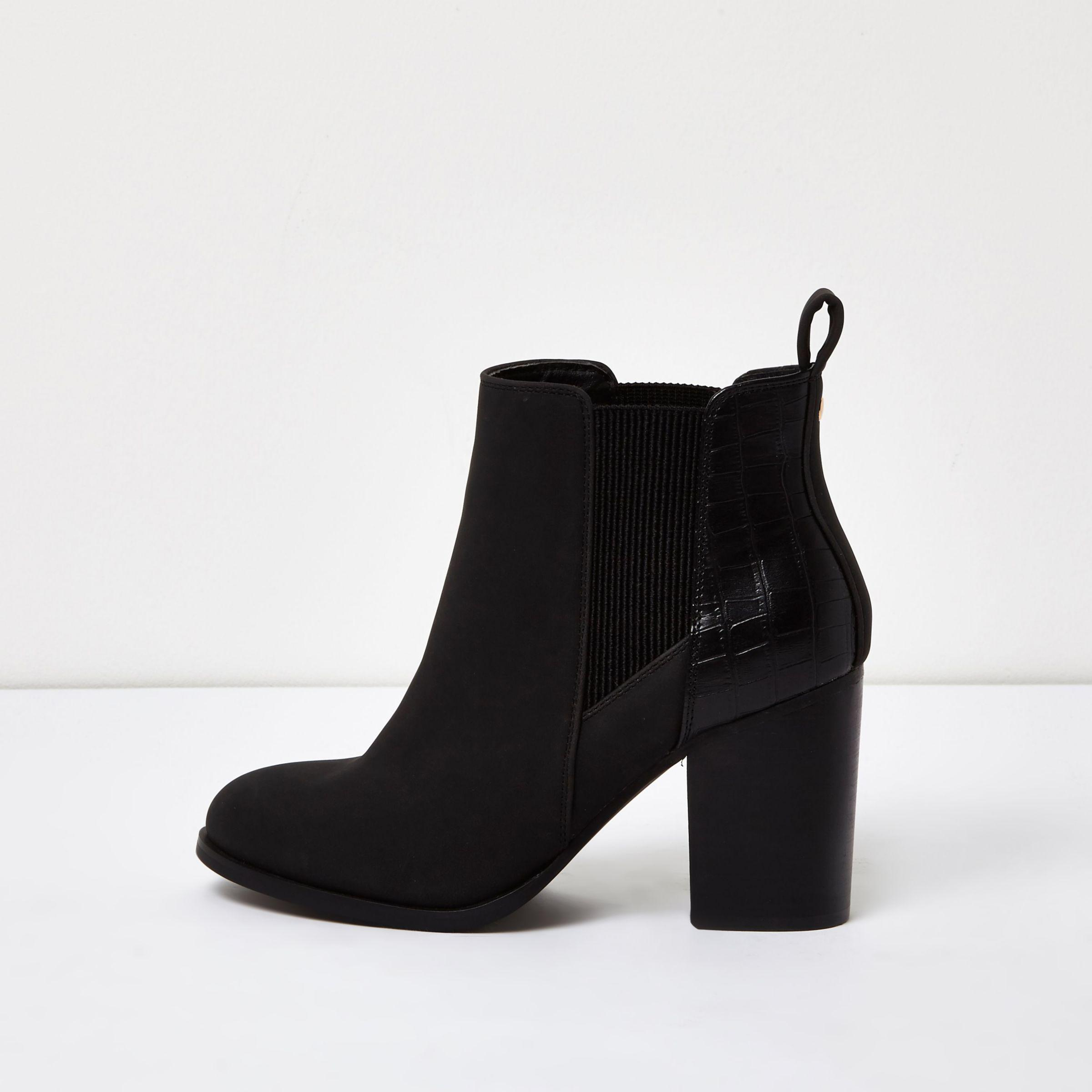 6934a4d0e99b Lyst - River Island Patent Panel Heeled Chelsea Boots in Black