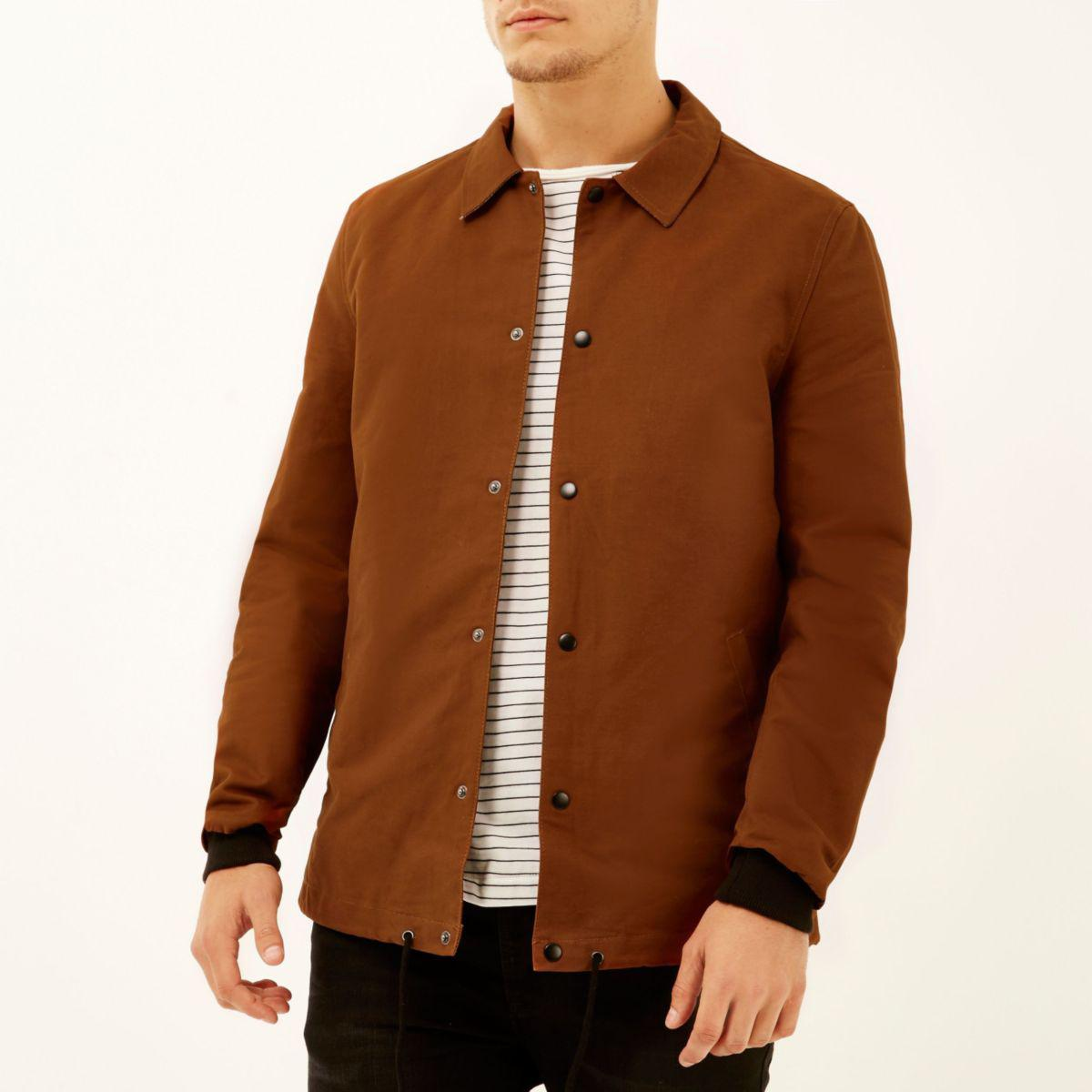Lyst - River island Rust Brown Casual Coach Jacket in Brown for Men