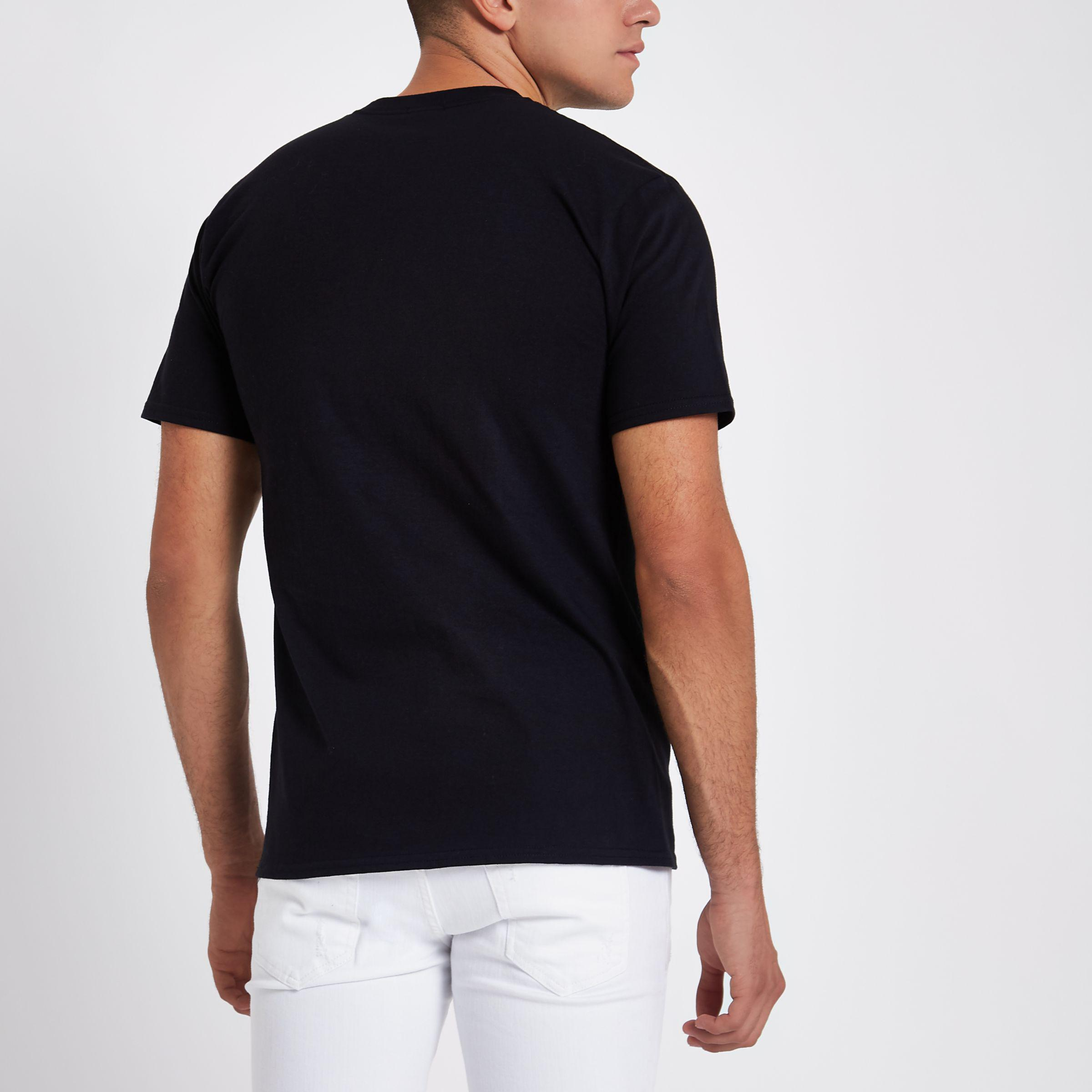 3f1b6449468 River Island Black  venti  Short Sleeve T-shirt in Black for Men - Lyst