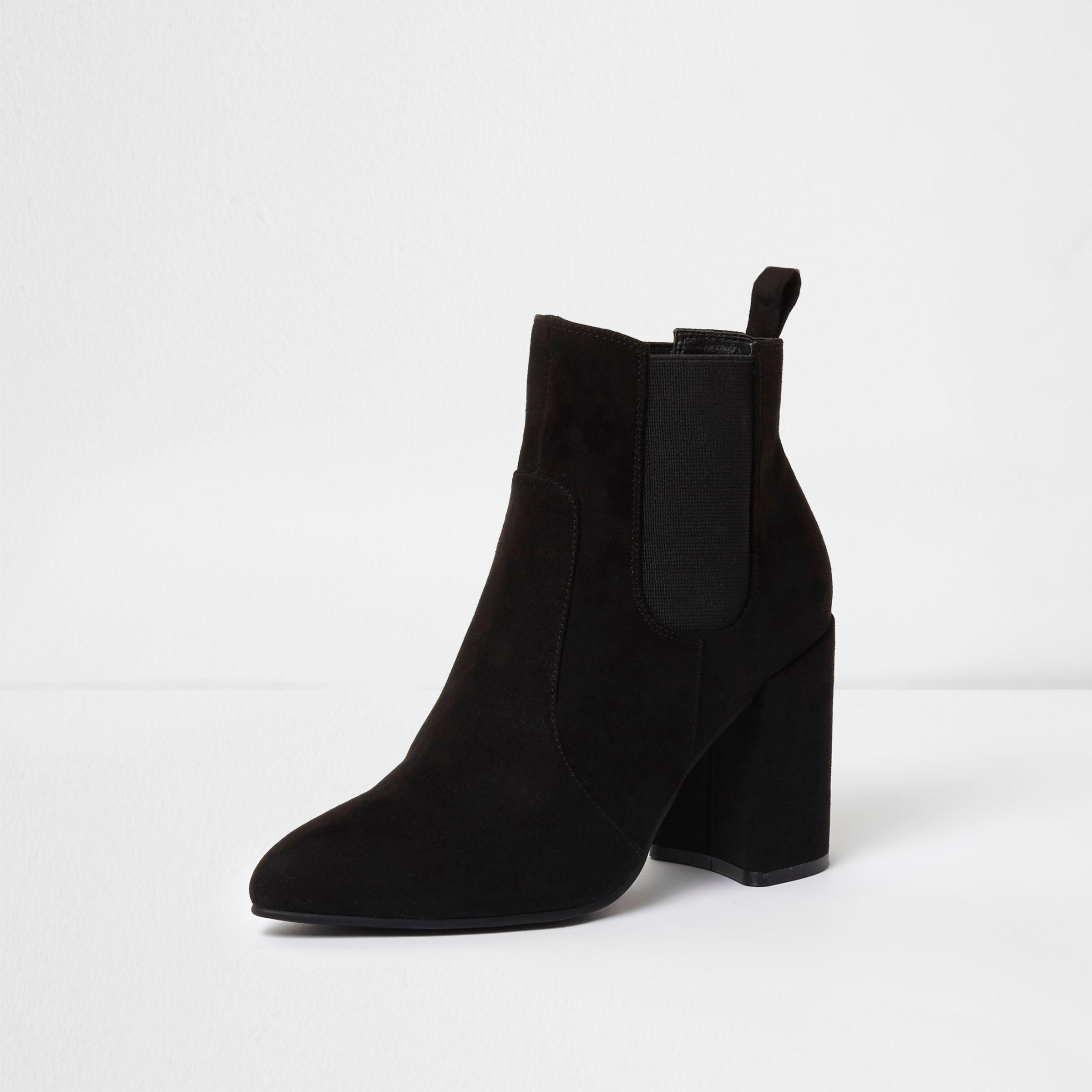 River Island Suede Black Pointed Toe Block Heel Chelsea Boots