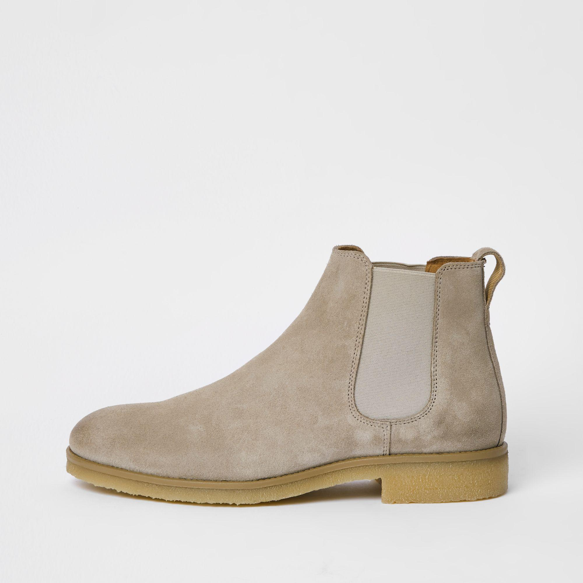 River Island Grey Suede Chelsea Boot in